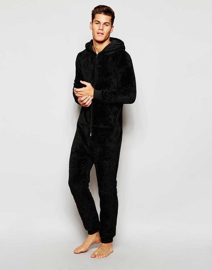 Asos loungewear onesie in fluffy fabric in black for men for Mens dress shirt onesie