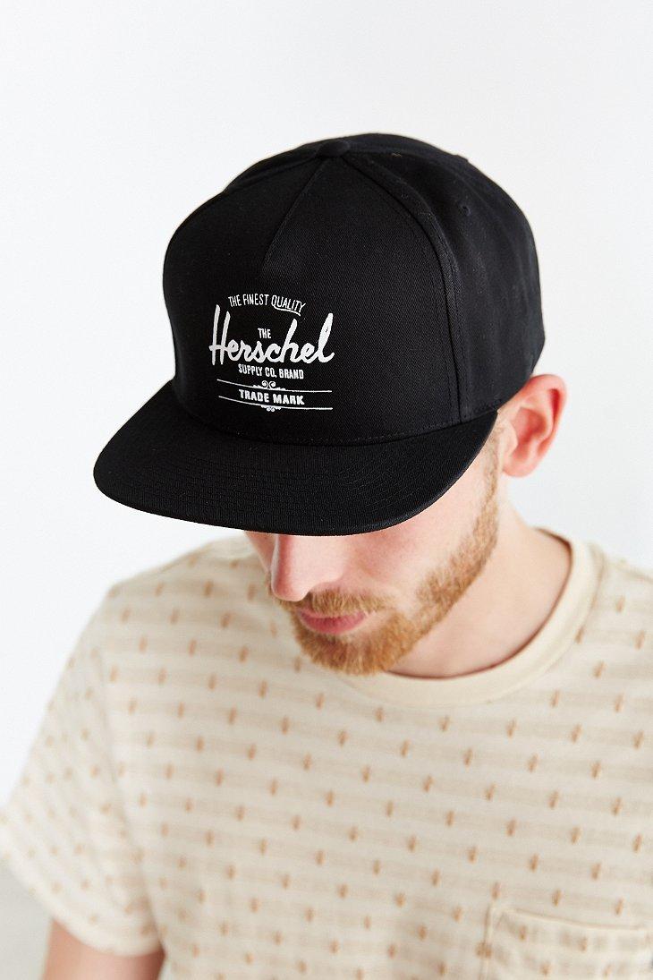 Lyst - Herschel Supply Co. Whaler Snapback Hat in Black for Men 966078e3a57