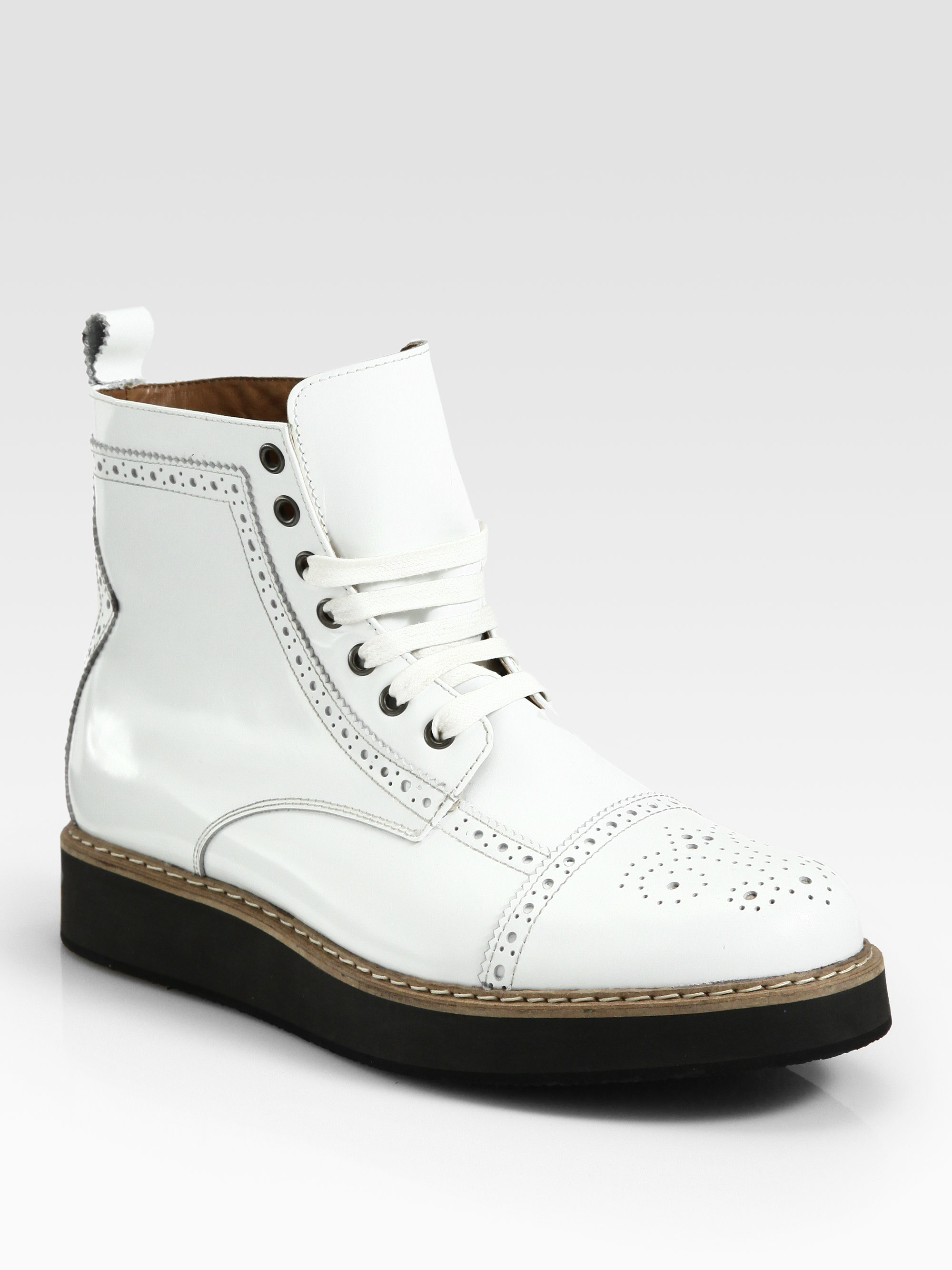 Mcq Derby Toe Brogue Boots in White for Men - Lyst