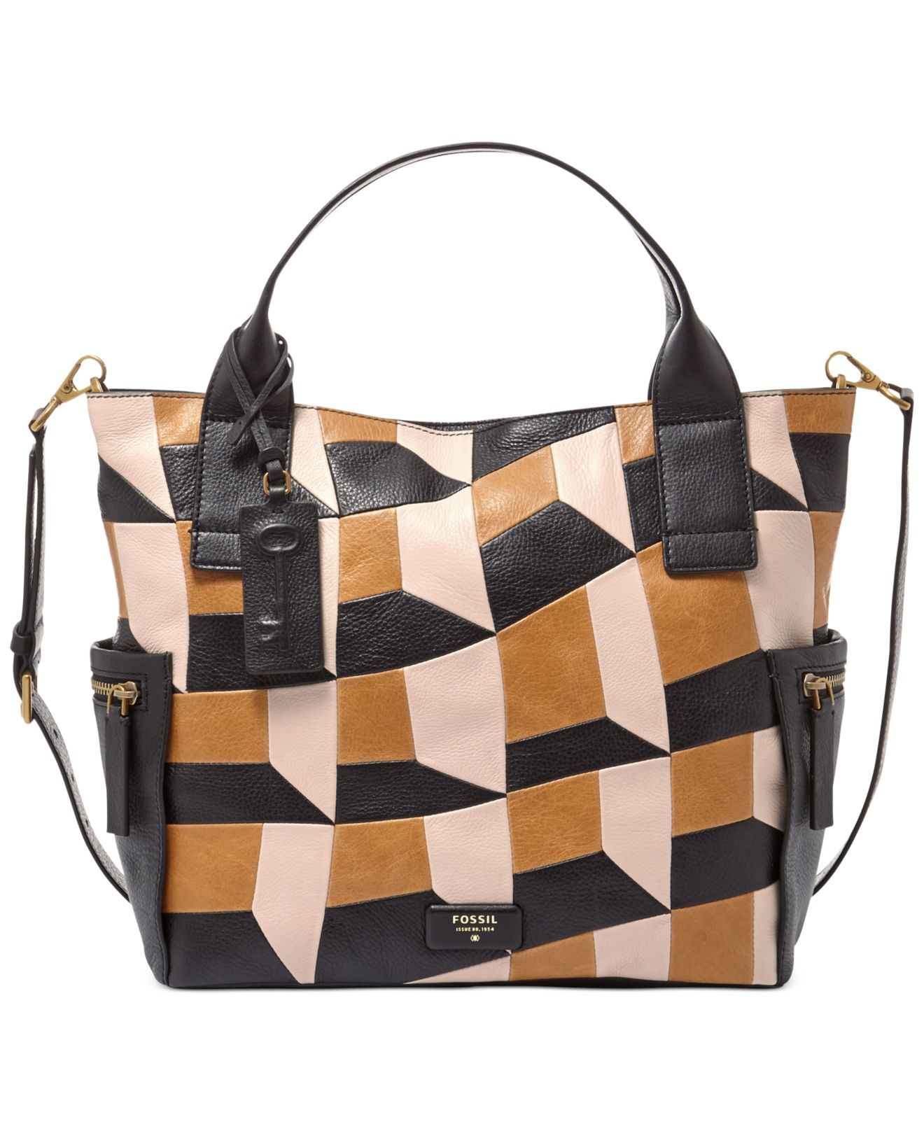 Lyst Fossil Emerson Leather Patchwork Satchel