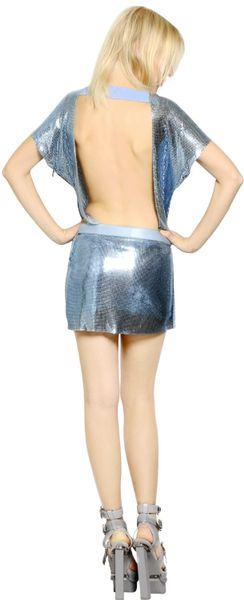 Versace Metal Mesh Dress In Blue Light Blue Lyst