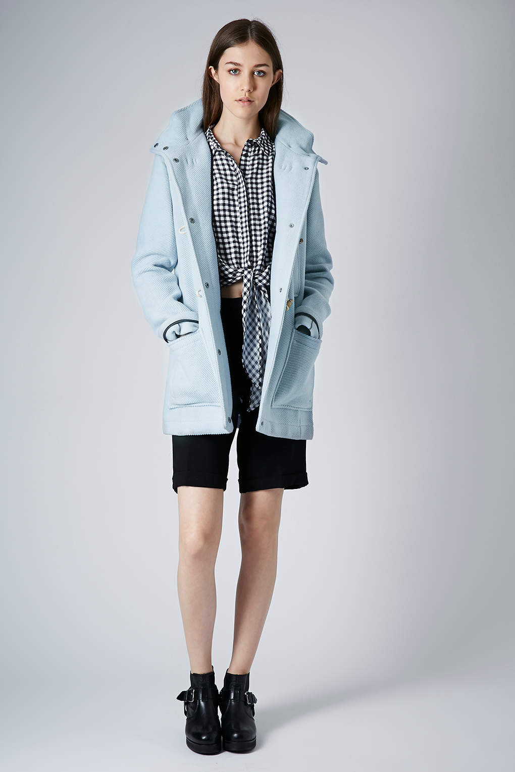 Topshop Wool Hooded Duffle Coat in Blue | Lyst
