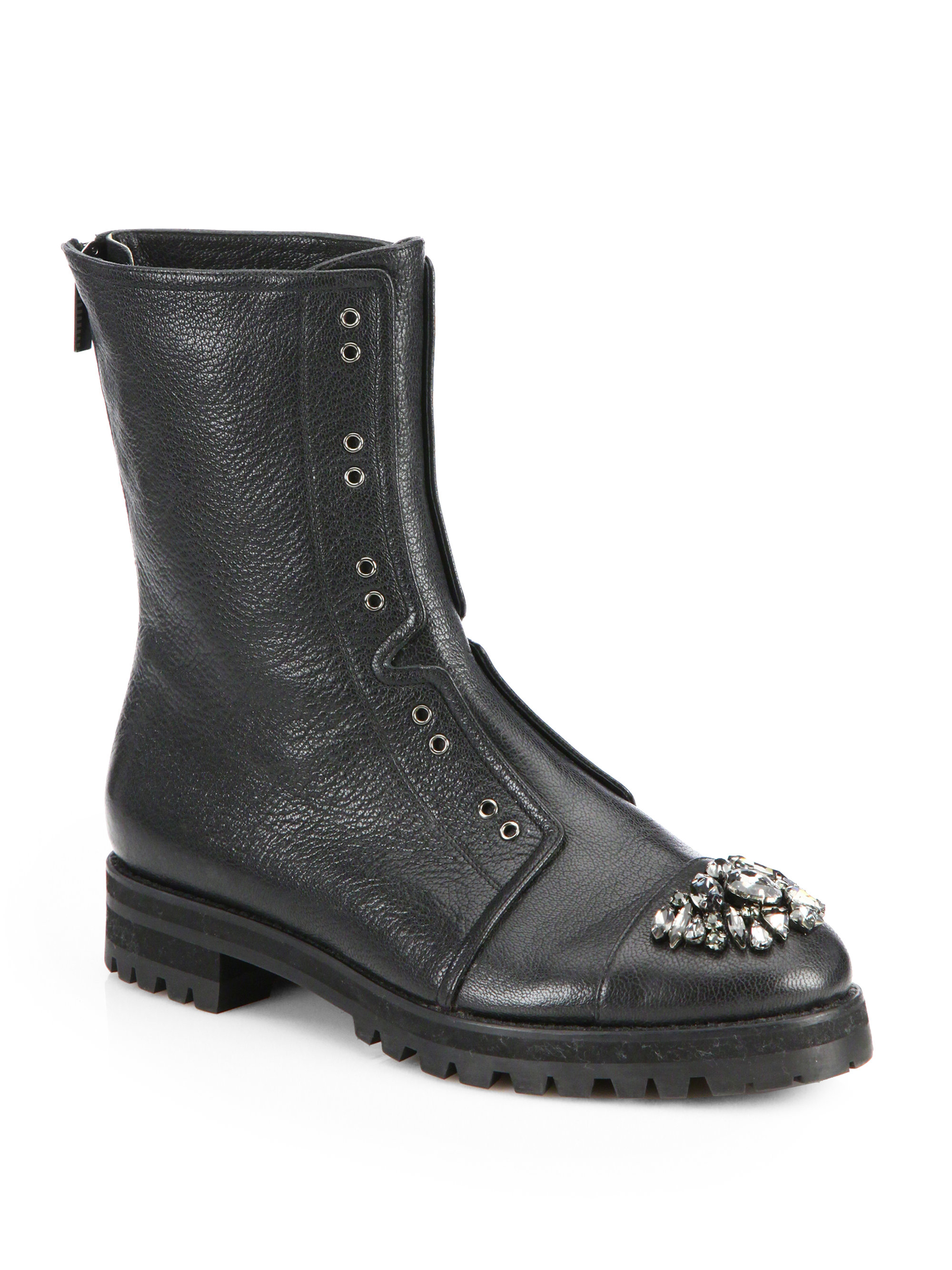 Jimmy Choo Hatcher Embellished Leather Combat Boots In