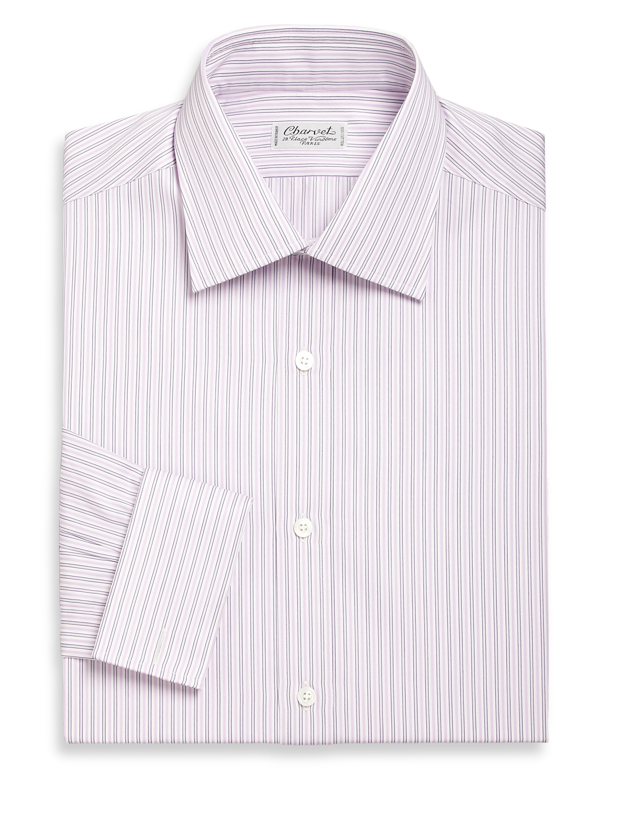 Lyst charvet striped cotton dress shirt in purple for men for Purple striped dress shirt