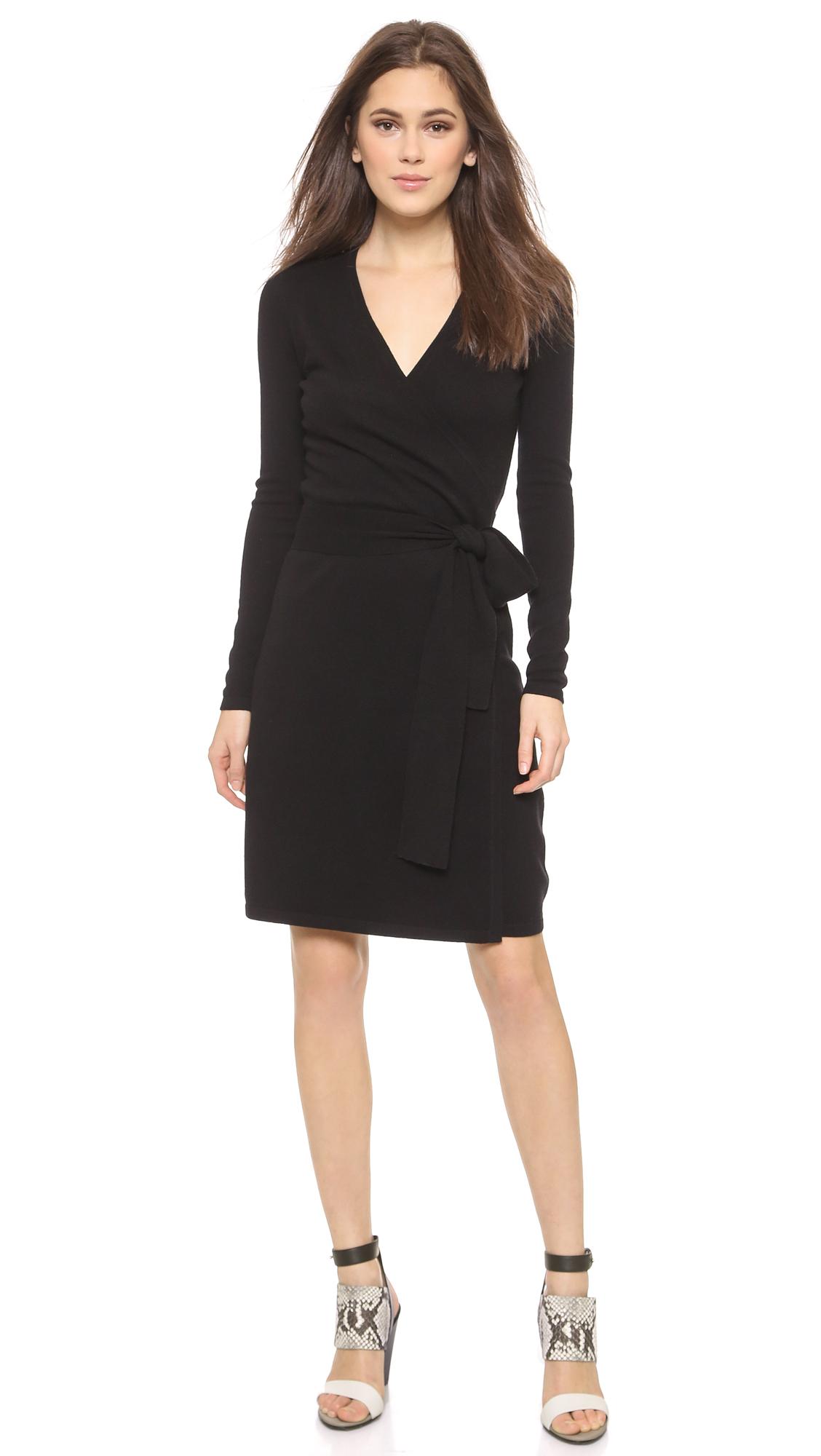 a76242bde58 Diane von Furstenberg Linda Wrap Sweater Dress - Black in Black - Lyst
