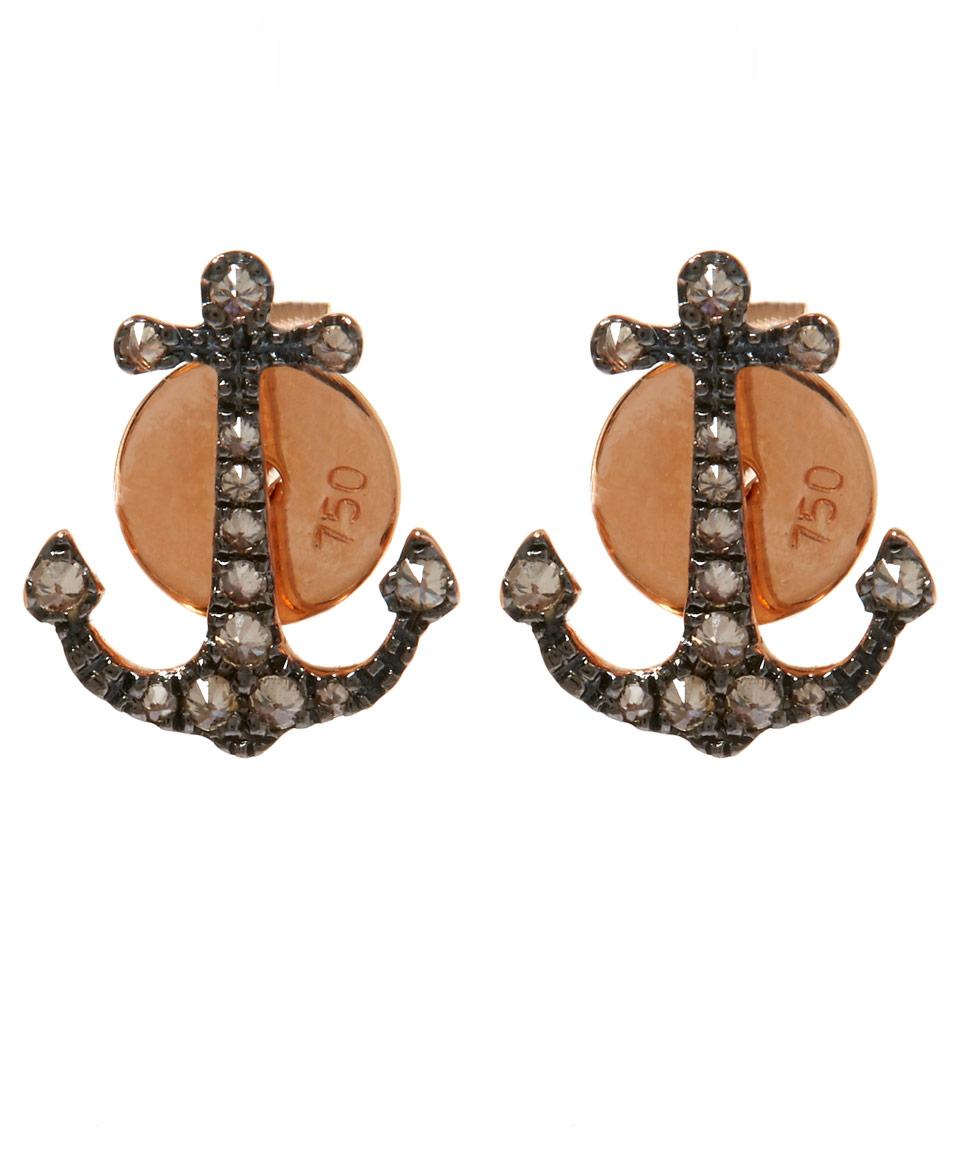 Lyst Annoushka Rose Gold Love Diamonds Anchor Stud Earrings in