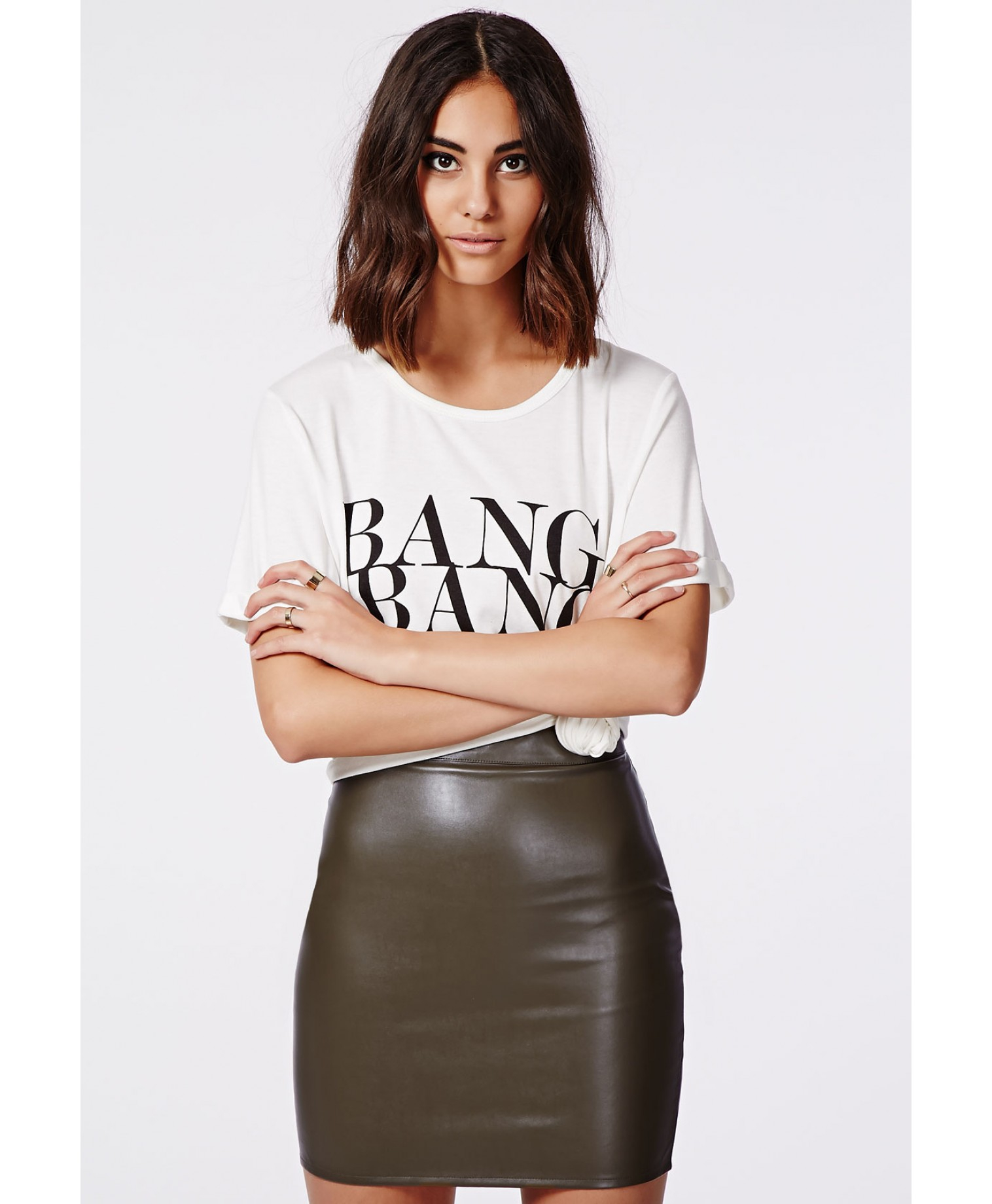 Missguided Rica Faux Leather Mini Skirt Khaki in Natural | Lyst