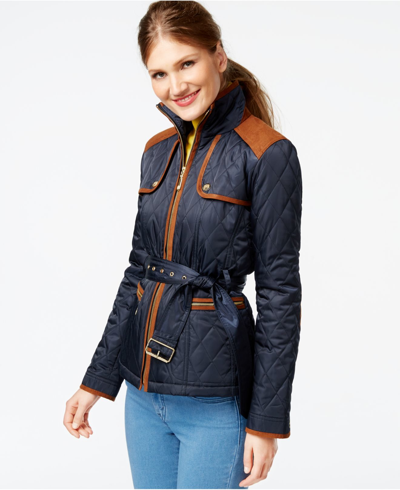 Vince Camuto Faux Suede Trim Quilted Barn Jacket In Blue