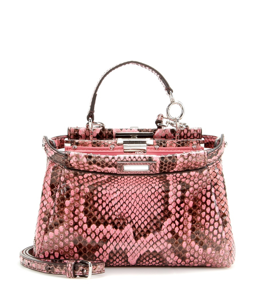 Fendi Micro Peekaboo Python Leather Shoulder Bag in Pink - Lyst d090b042c3c31