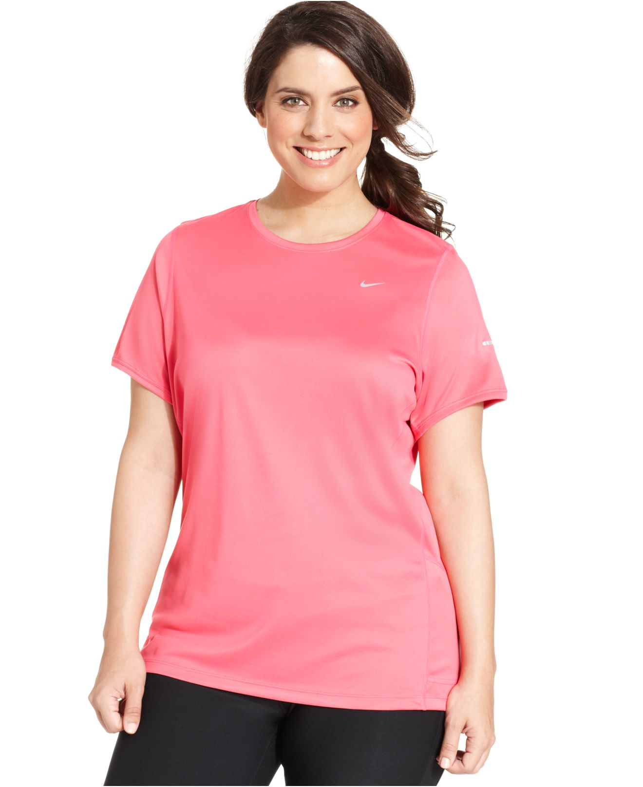 Nike Plus Size Short Sleeve Dri Fit Running Top In Pink Lyst