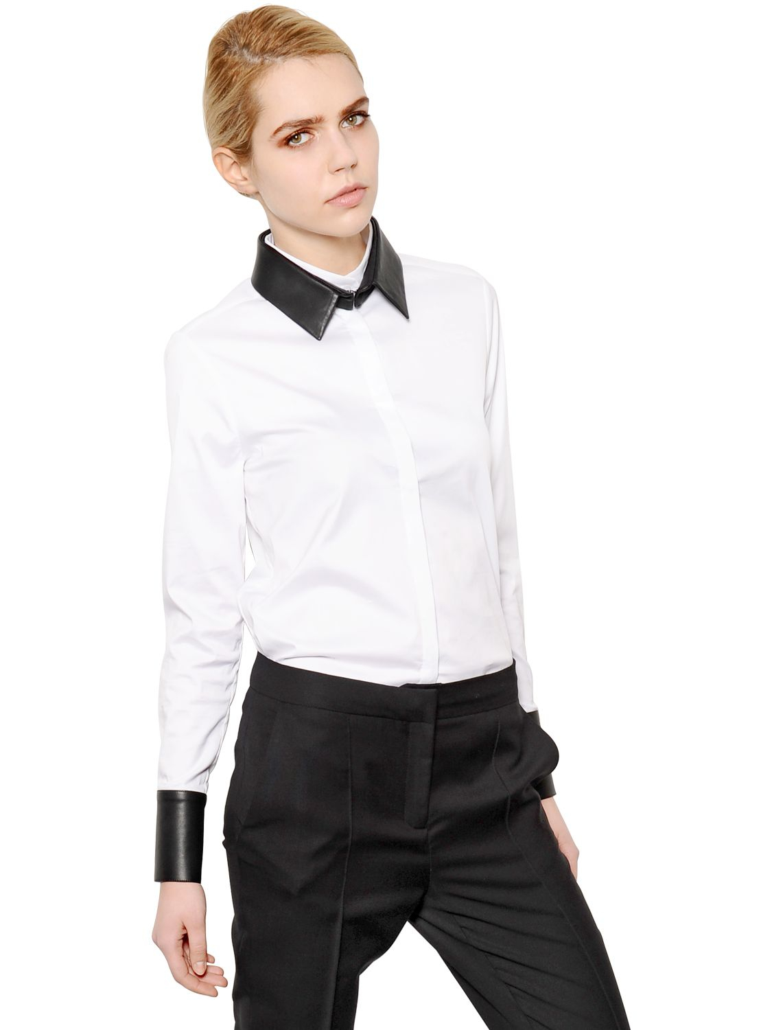 Karl lagerfeld cotton poplin shirt w faux leather trim in for Mens white leather shirt