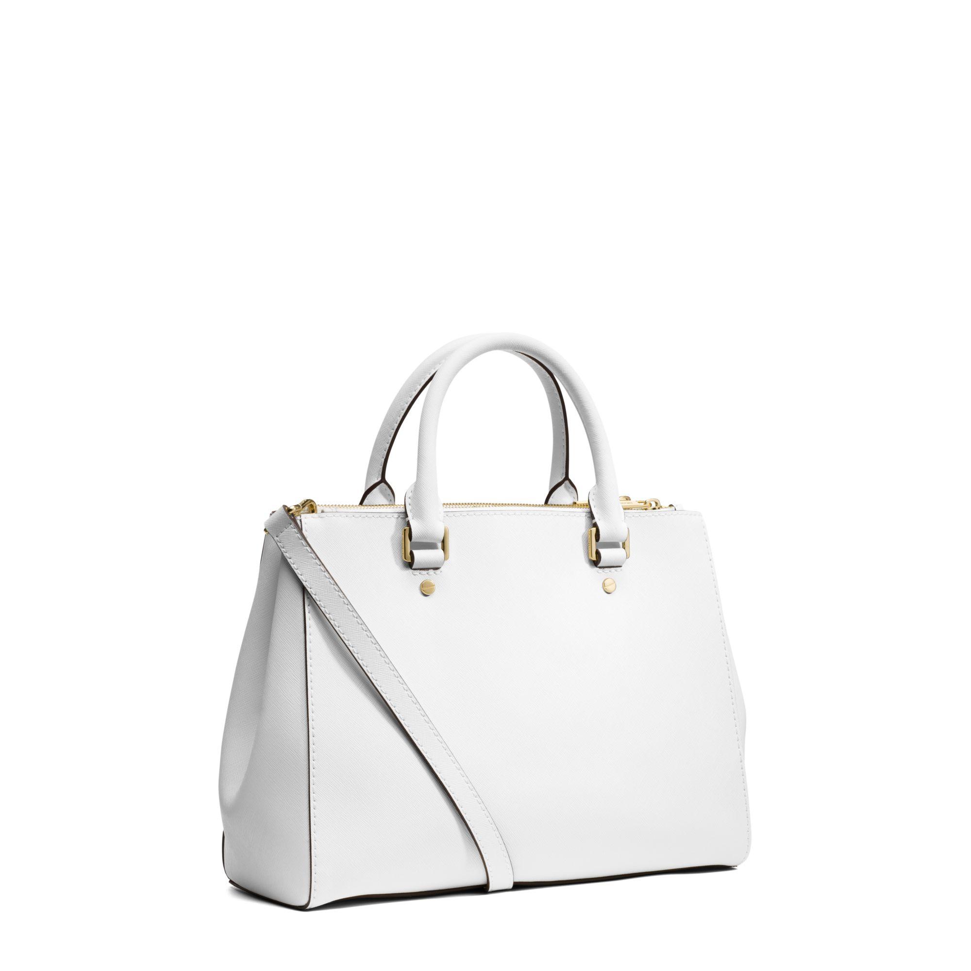 ec9c585f55d7 ... Saffiano Leather Medium Satchel - Optic White Gallery. Womens Michael  By Michael Kors Sutton ...