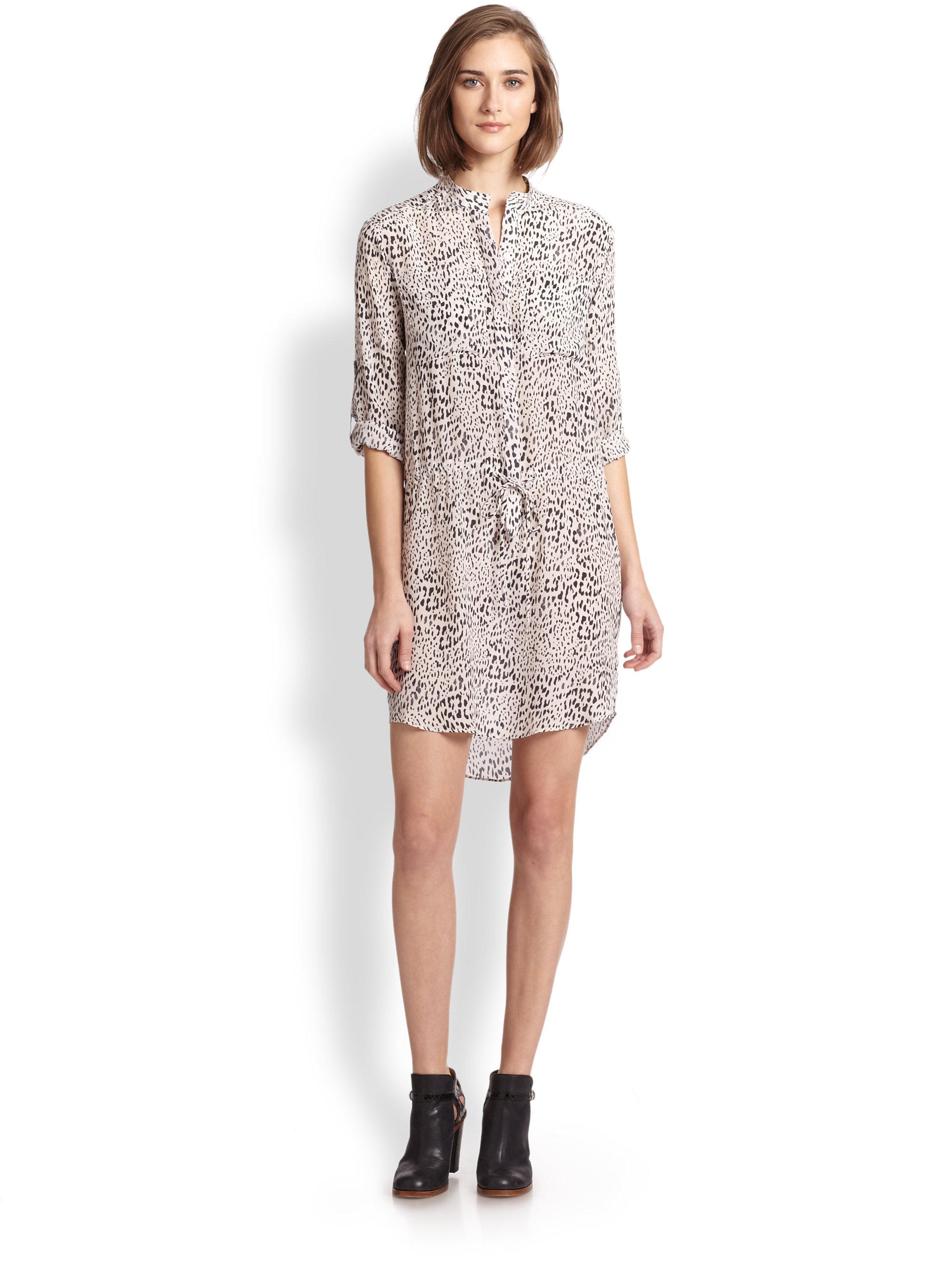 e36743fae47 Rebecca Taylor Silk Leopard-Print Shirtdress - Lyst