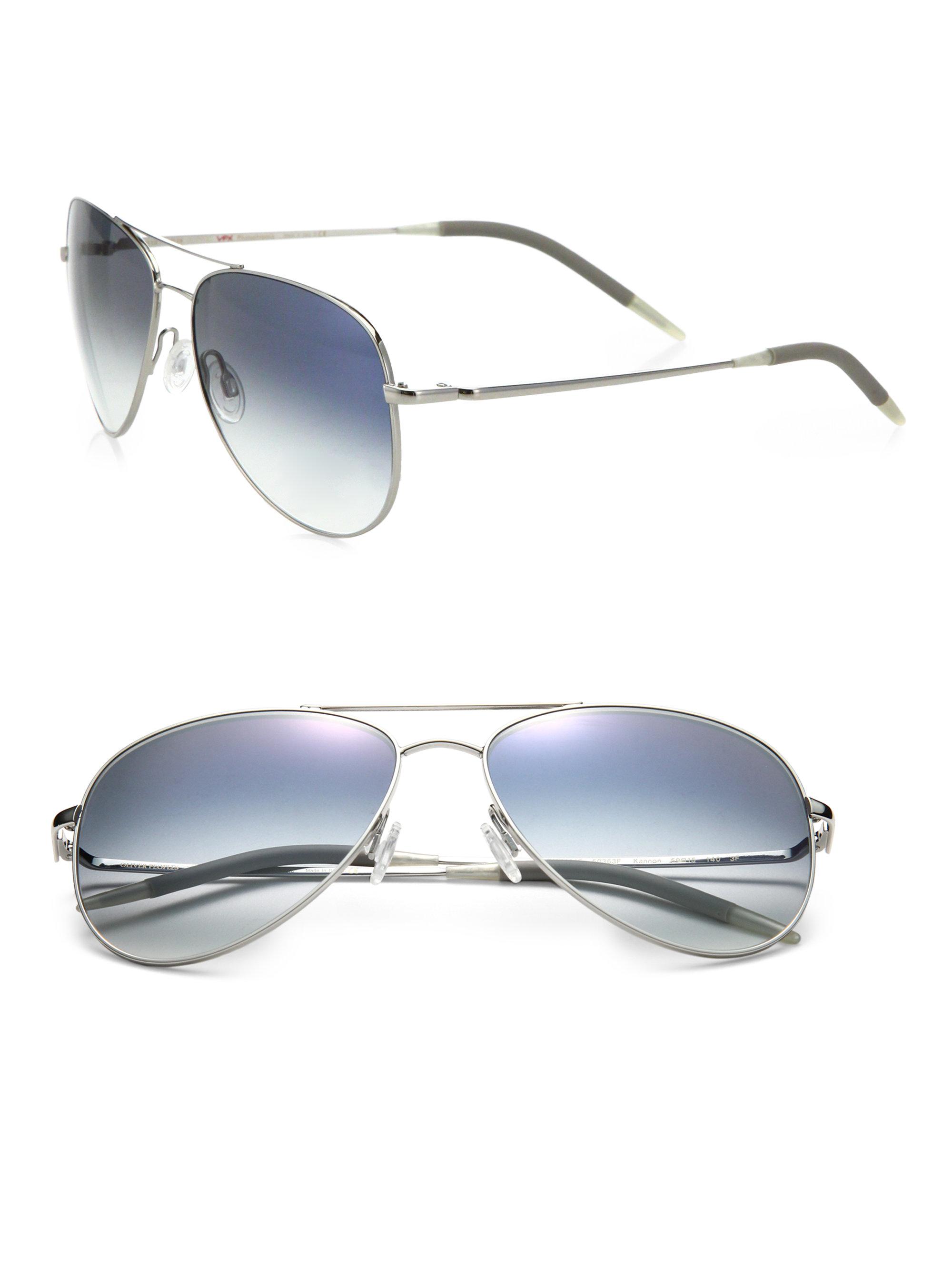 c0ad0791738 Oliver peoples Kannon 59mm Double-bridge Aviator Sunglasses in Metallic