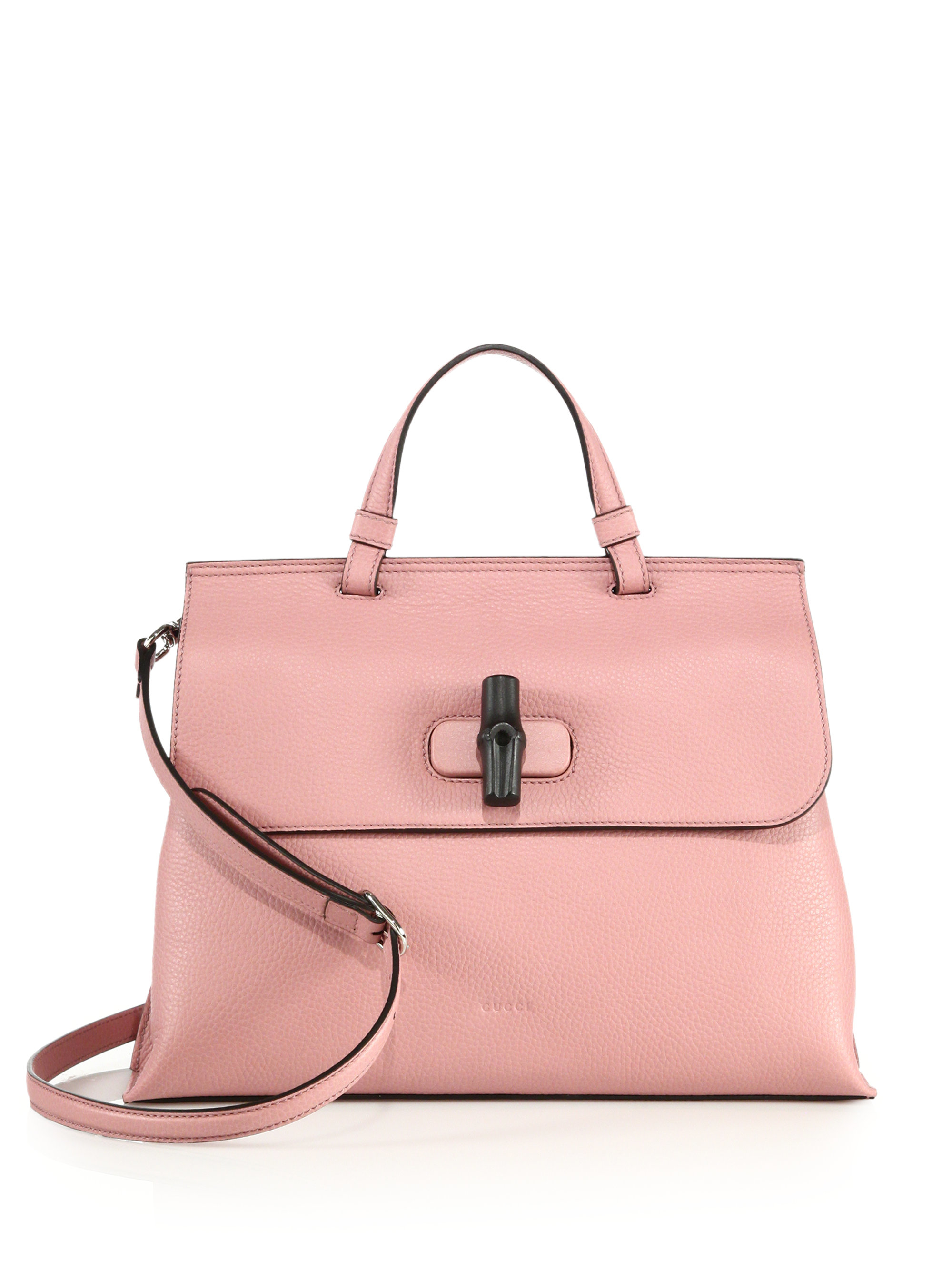 Lyst Gucci Bamboo Daily Leather Top Handle Bag In Pink