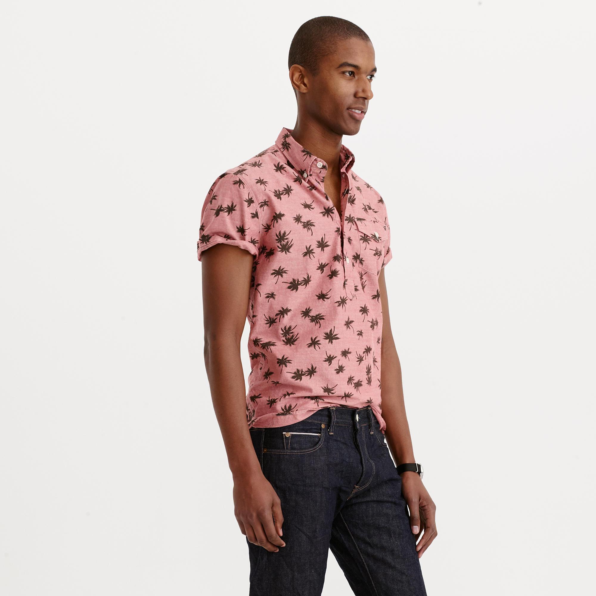 4fa9644fb1f Lyst - J.Crew Short-sleeve Chambray Popover Shirt In Palm Tree Print ...