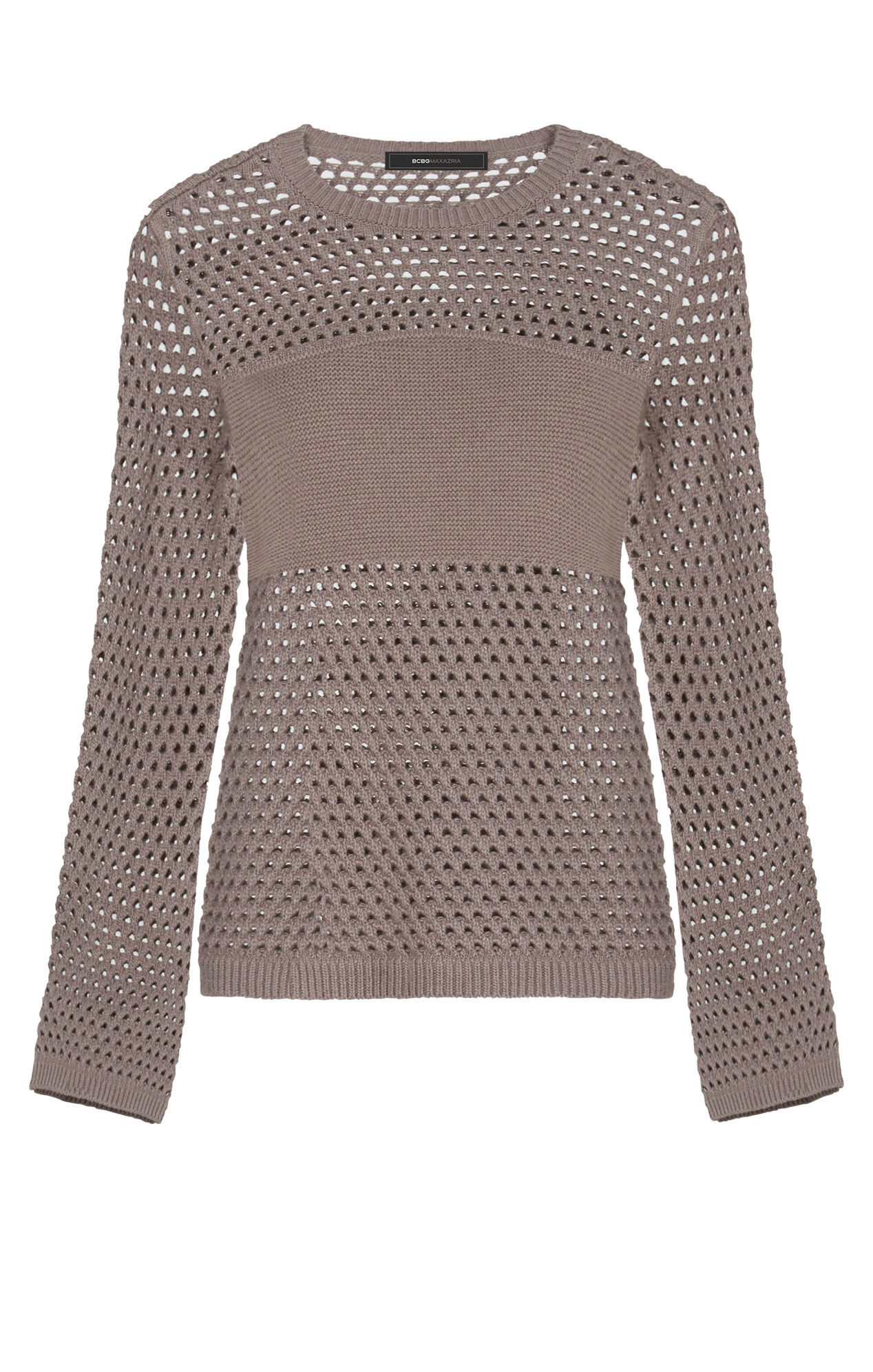 Bcbgmaxazria Joeli Mesh Pullover Sweater in Brown | Lyst