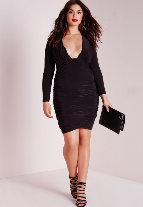 Missguided Plus Size Slinky Ruched Midi Dress Black In Black Lyst