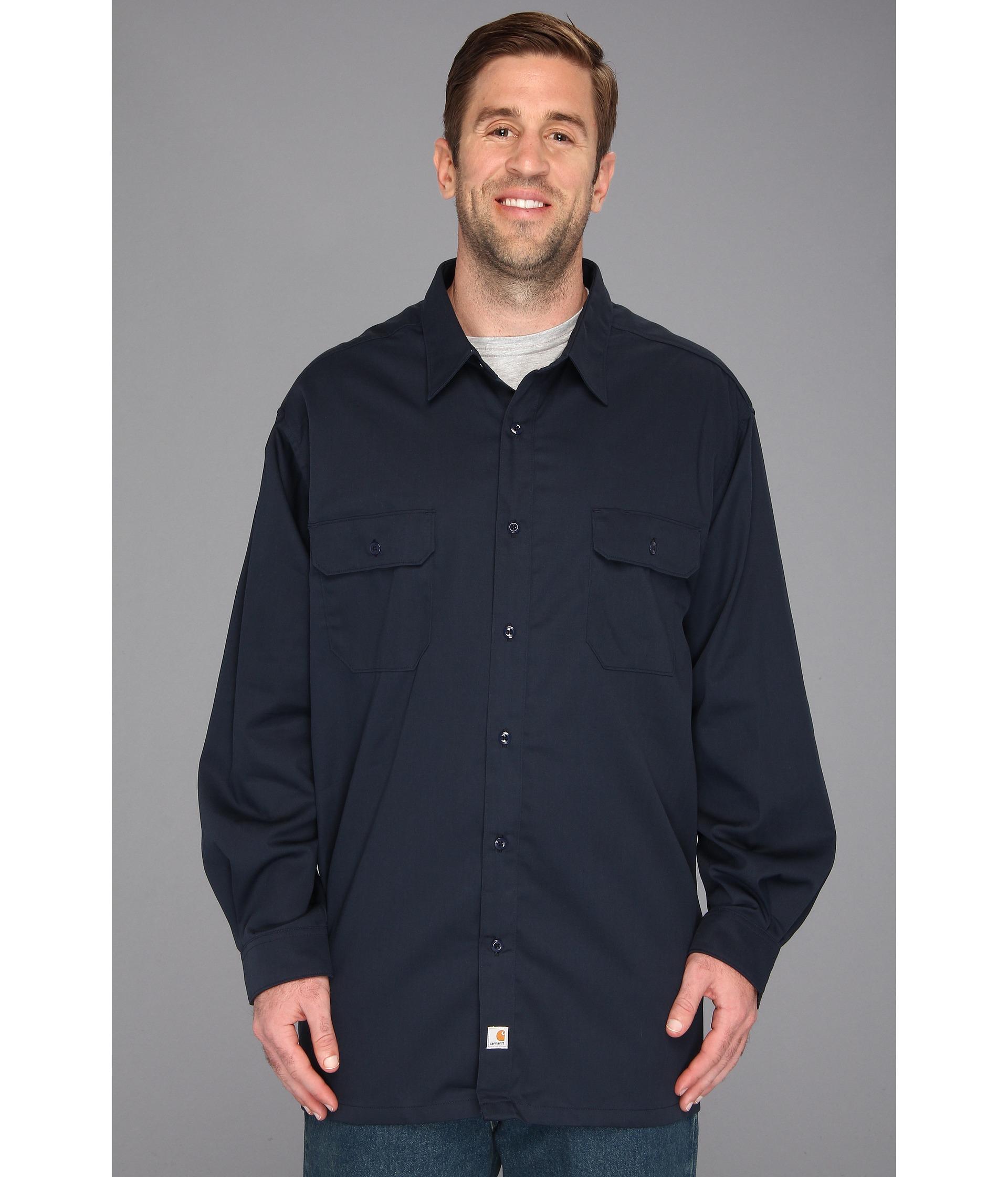 Carhartt big tall twill l s work shirt in blue for men for Tall mens work shirts