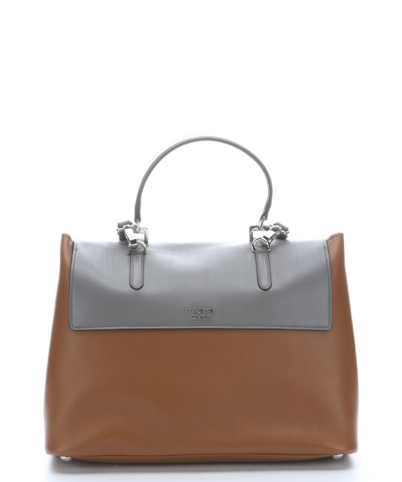 Prada Cinnamon And Grey Leather Buckle Accent Convertible Top ...