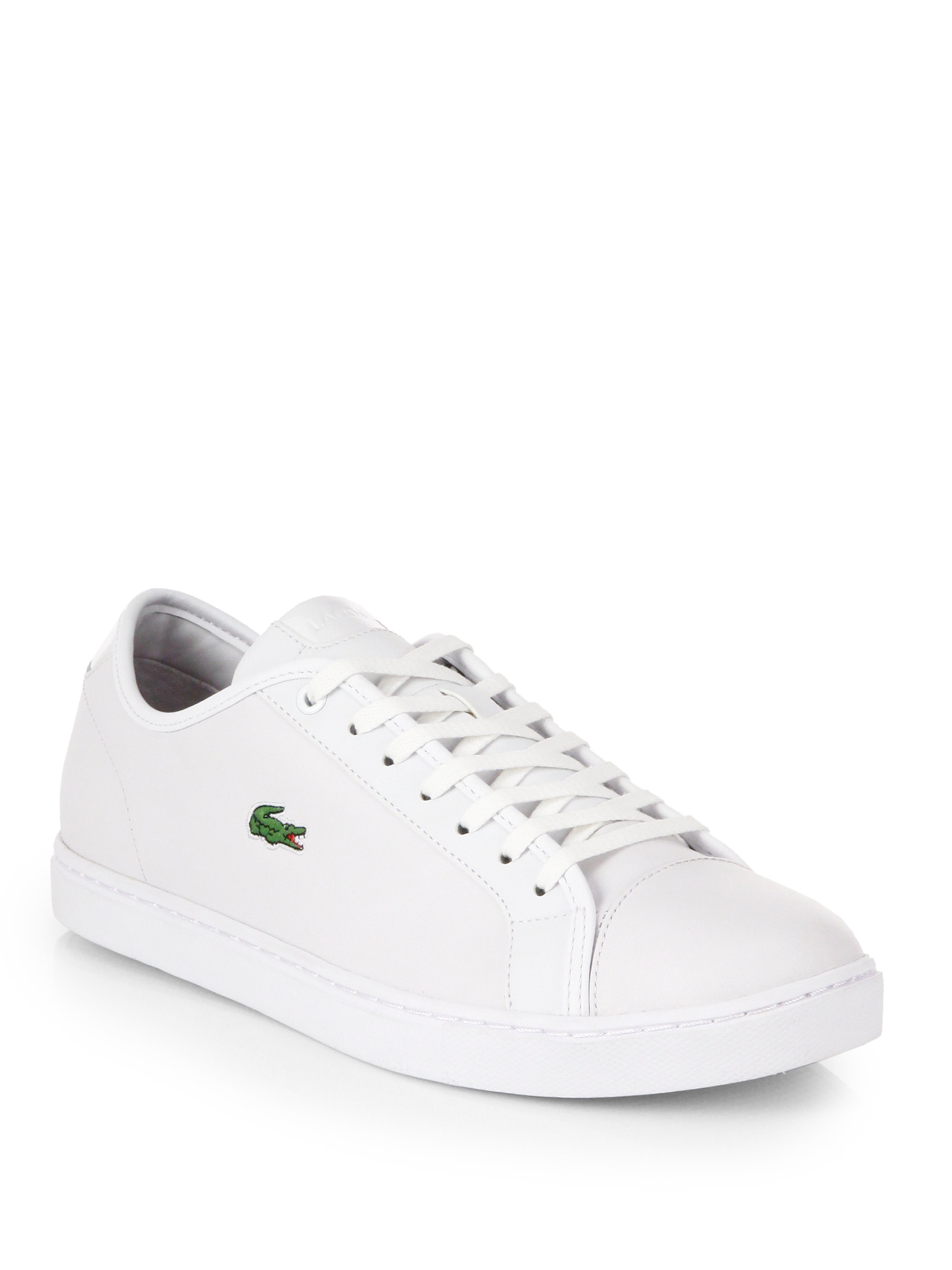 lacoste leather tennis shoes in white for lyst