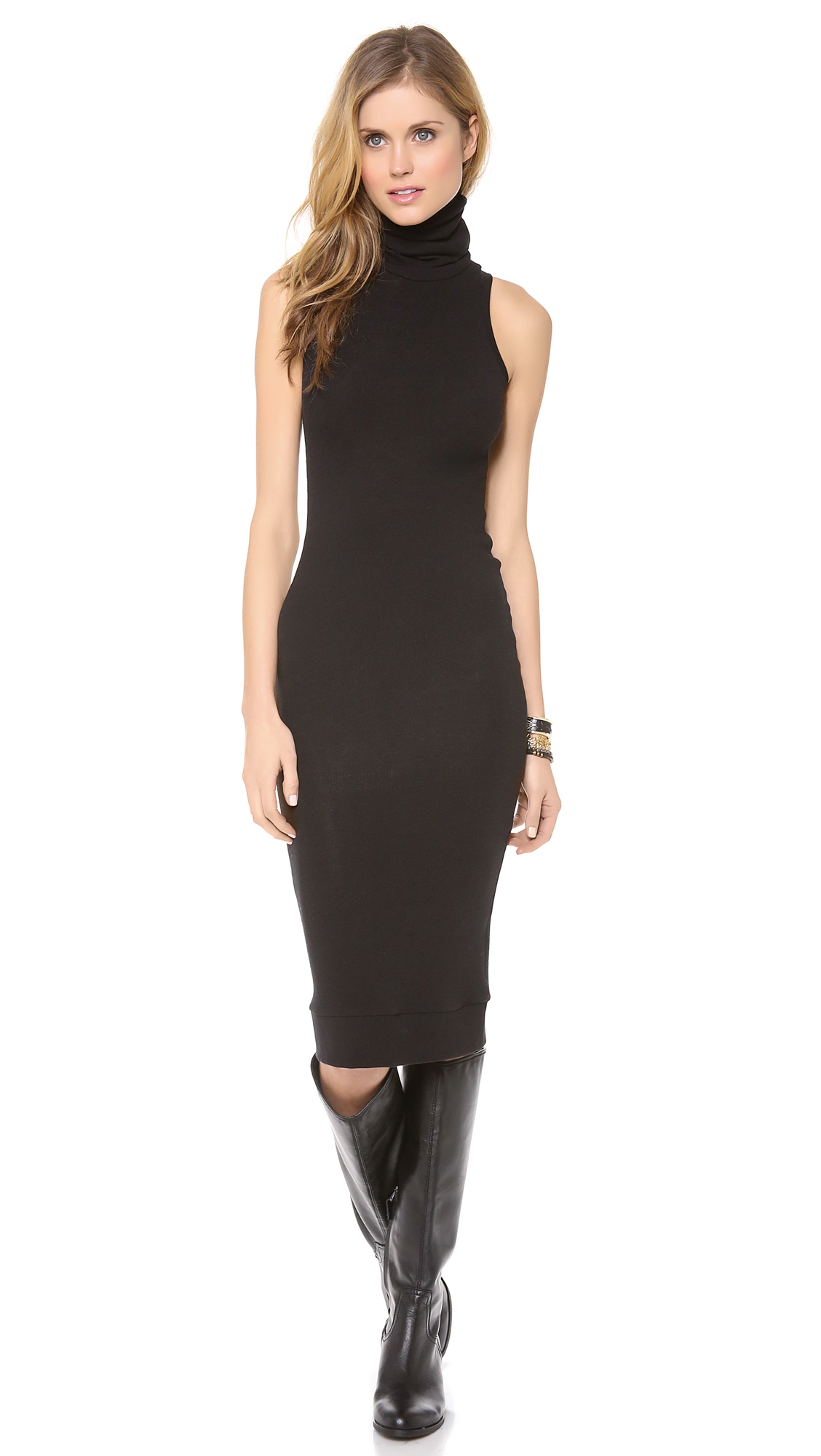 Rachel Pally Sleeveless Turtleneck Dress Black In Black