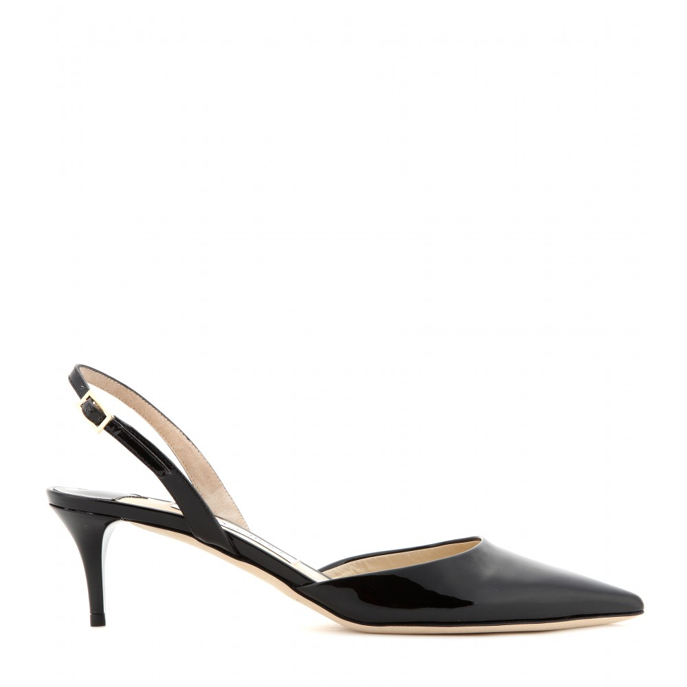 Jimmy choo Tide Patent-leather Kitten-heel Sling-backs in Black | Lyst