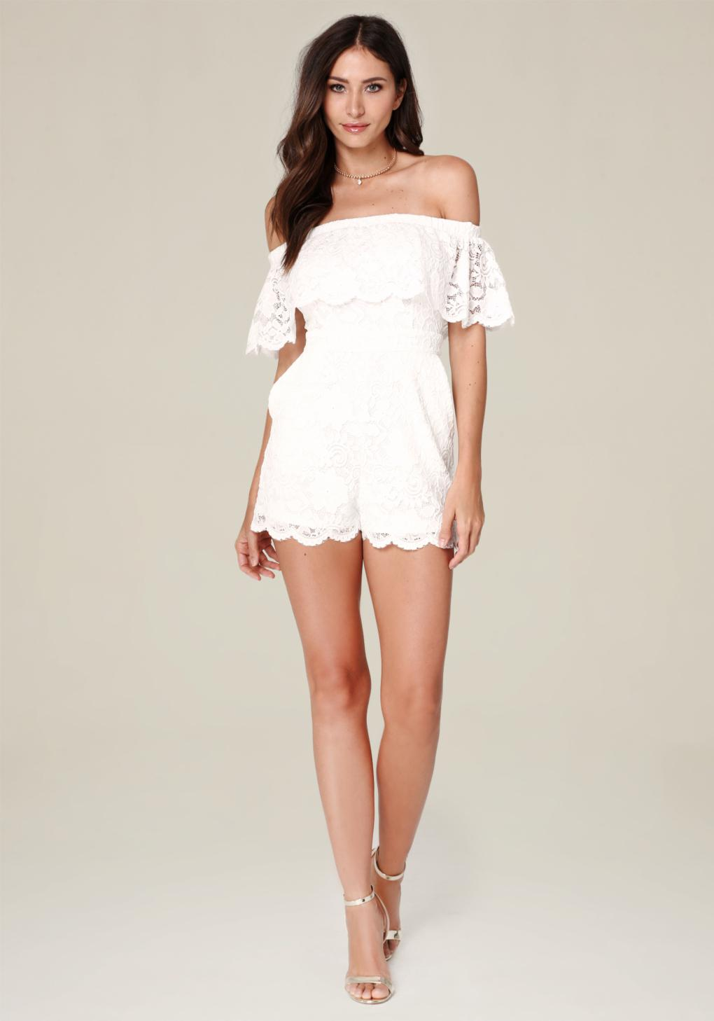 c331828734a Lyst - Bebe Lace Off Shoulder Romper in White