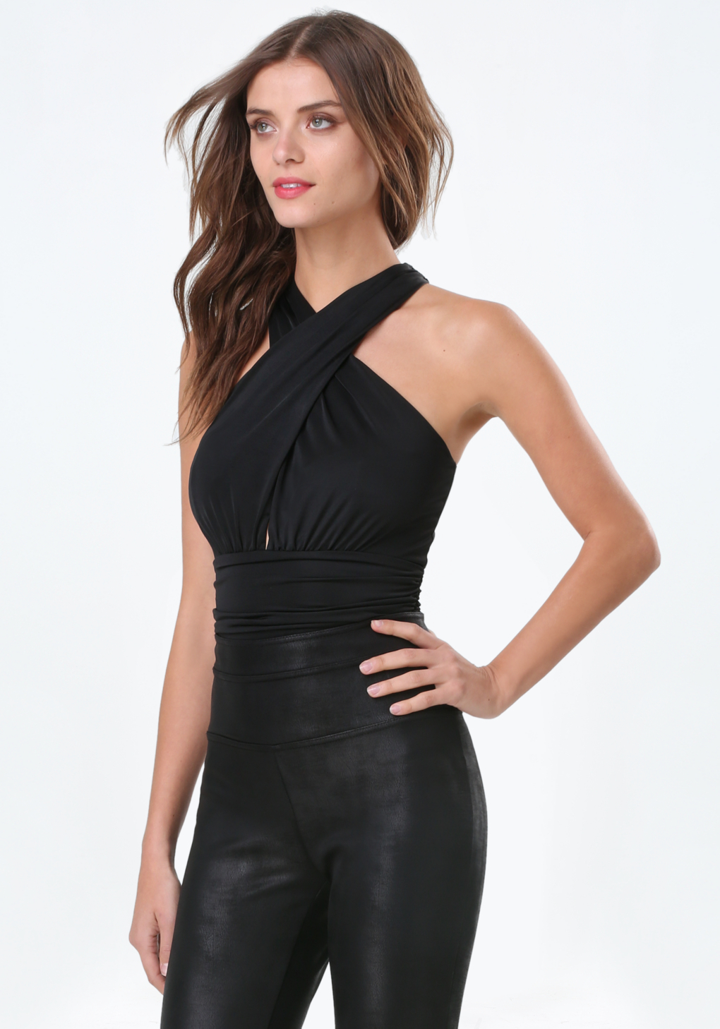 Lyst Bebe Crisscross Bodysuit In Black