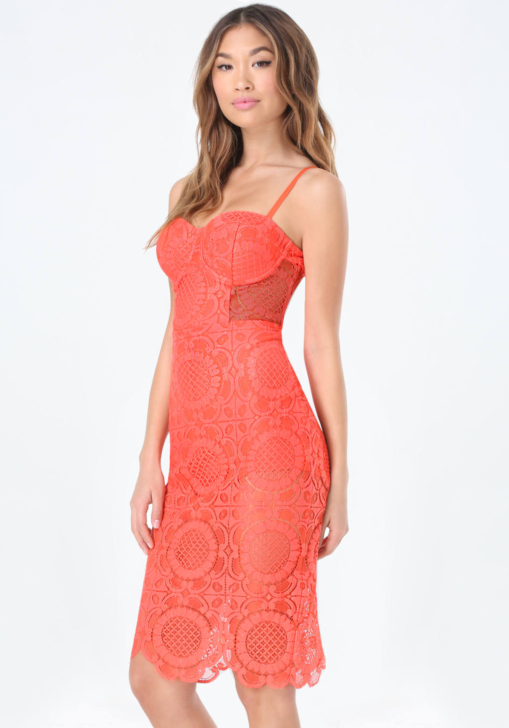 cad99ce58f18 Bebe Lace Bustier Dress in Pink - Lyst