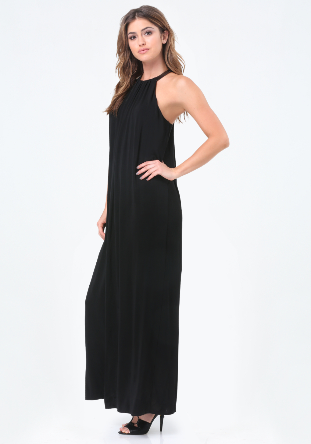 Lyst Bebe Leather Trim Maxi Dress In Black
