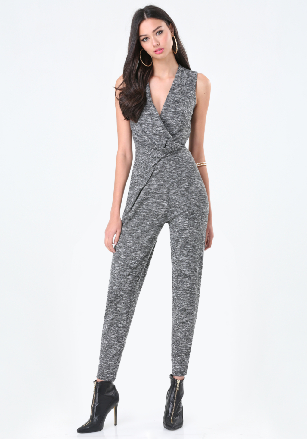 ca99988ec0a Lyst - Bebe Railey Space Dye Jumpsuit in Gray