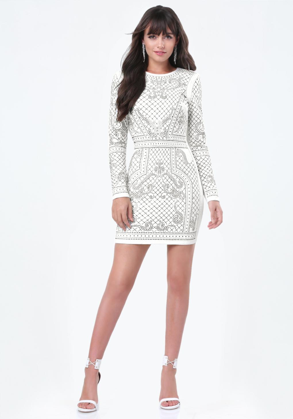 Bebe studded jacquard dress in white lyst for Bebe dresses wedding guest