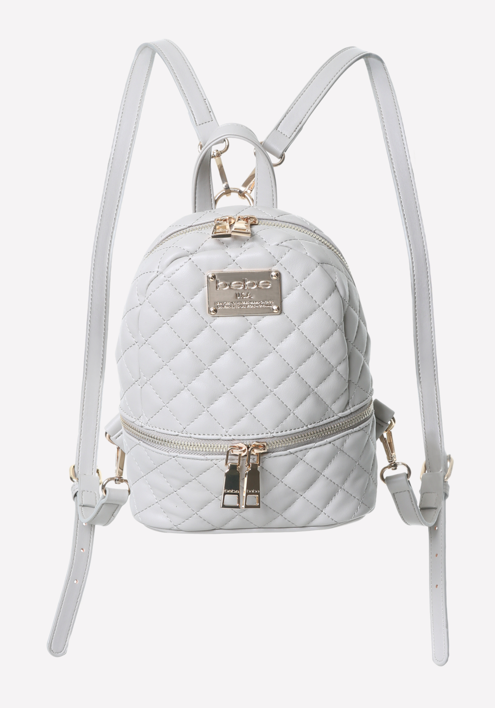 Lyst - Bebe Quilted Mini Backpack in Gray e27e2f972debd