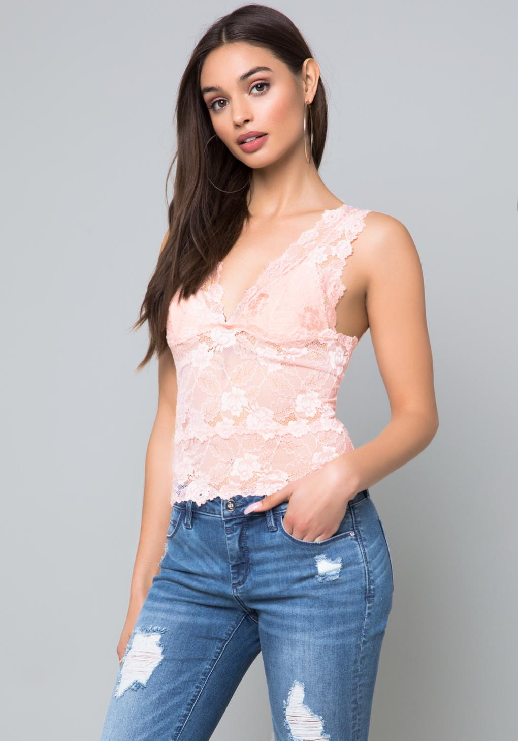 381a3a5237d28 Lyst - Bebe Lace Lingerie Top in Pink