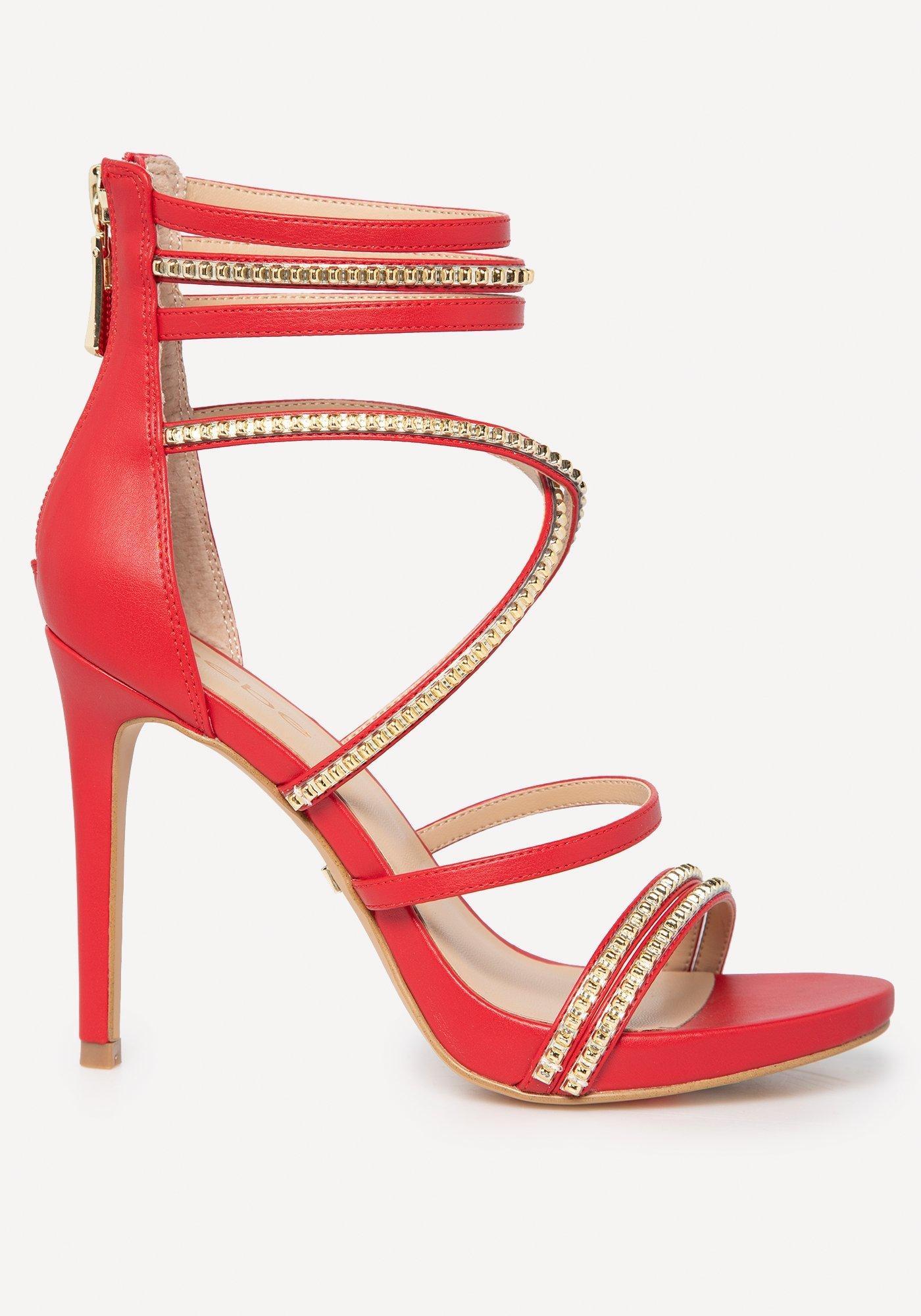 474e93176fb Bebe - Red Bettyy Braid   Stud Strappy Sandals - Lyst. View fullscreen