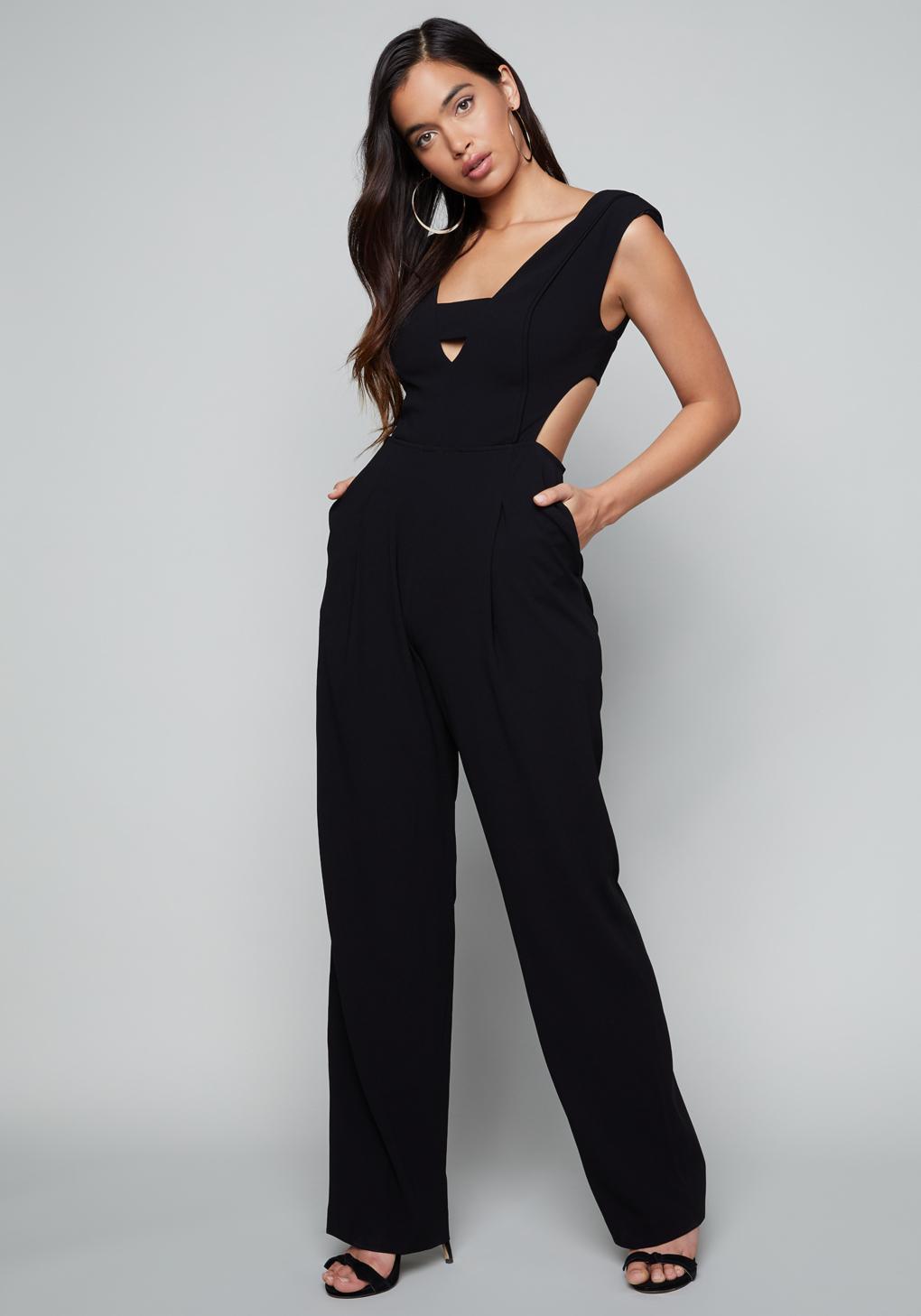 80c1e1f8fcfa Bebe Krystal Jumpsuit in Black - Lyst