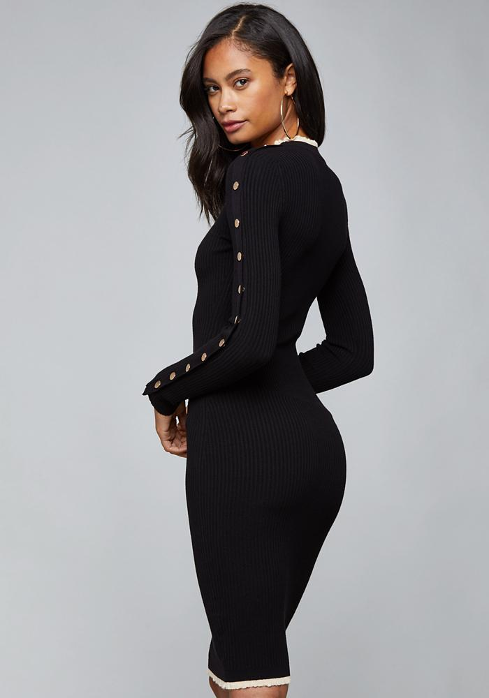 c4ab09a382c Bebe - Black Ruffle Trim Sweater Dress - Lyst. View fullscreen