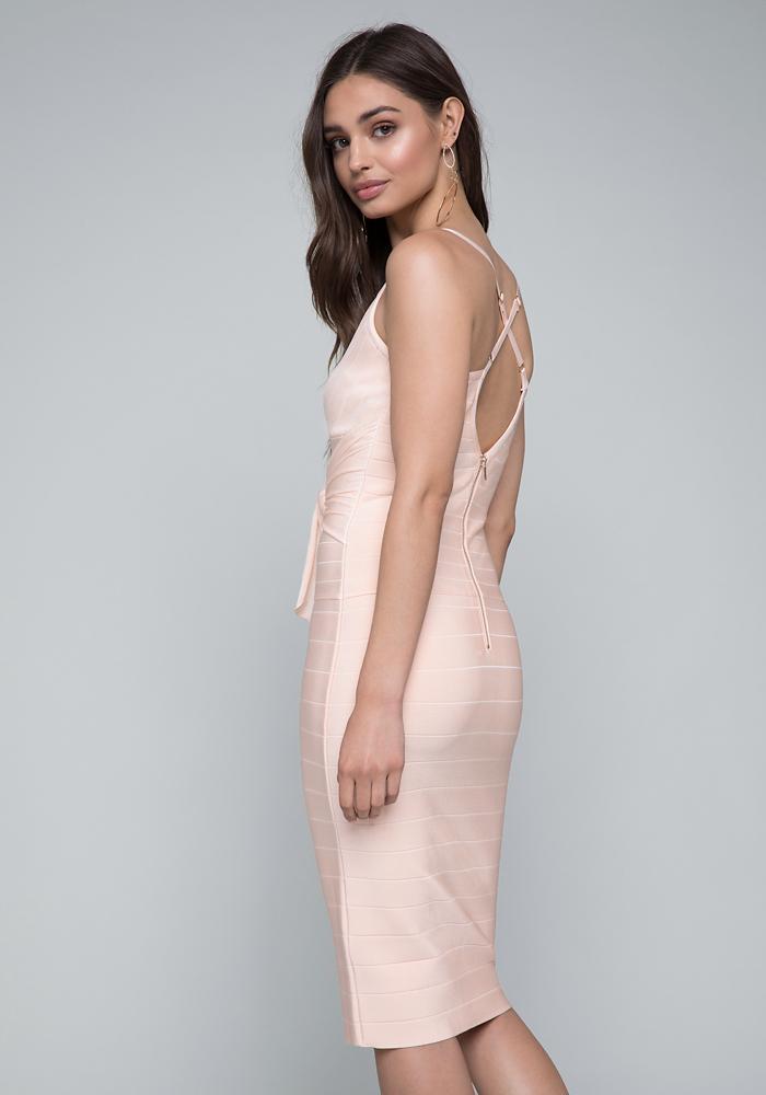 b7c168bfa9f Lyst - Bebe Minerva Tie Bandage Dress