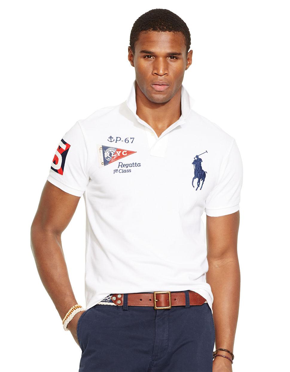 fe3ac840 ... order lyst polo ralph lauren custom fit yacht club mesh polo shirt in  a9e3d 70e9e