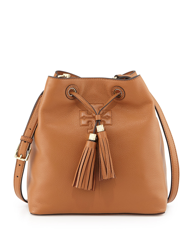 4185d0c0ca99 Lyst - Tory Burch Thea Drawstring Bucket Bag in Brown