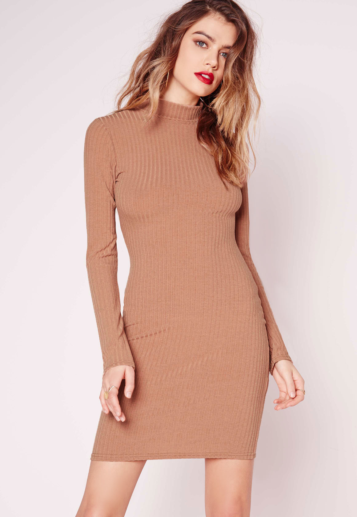 High neck long sleeve bodycon dress online