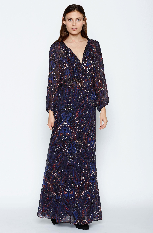 Joie Traluna Printed Silk Maxi Skirt in Blue
