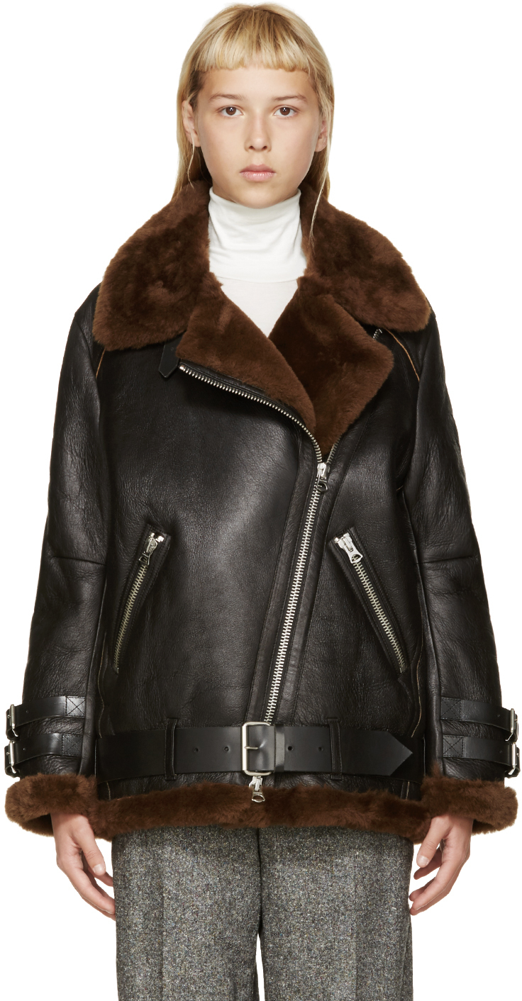 Acne Brown And Black Shearling Biker Coat in Black | Lyst