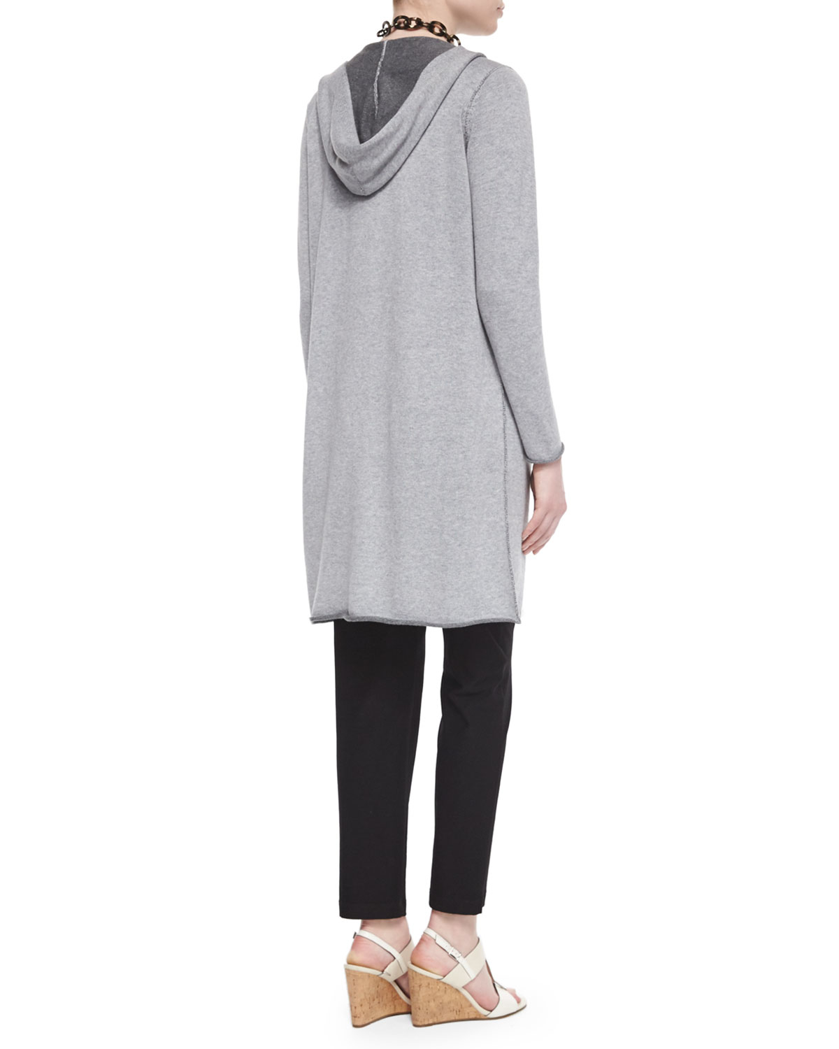 Lyst - Eileen Fisher Hooded Organic Cotton Long Cardigan in Gray af2b915dc