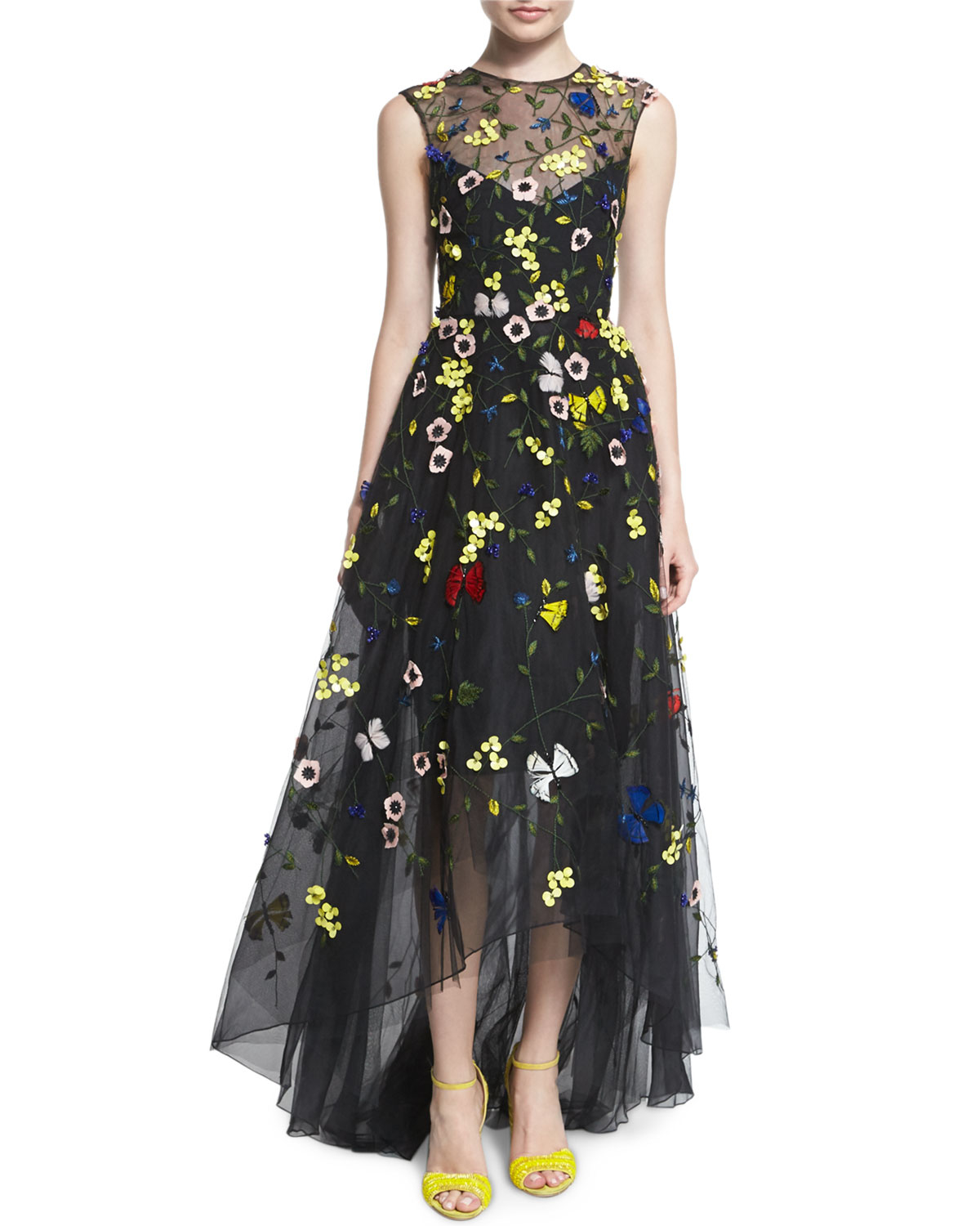 Monique Lhuillier Floral-embellished High-low Gown - Lyst