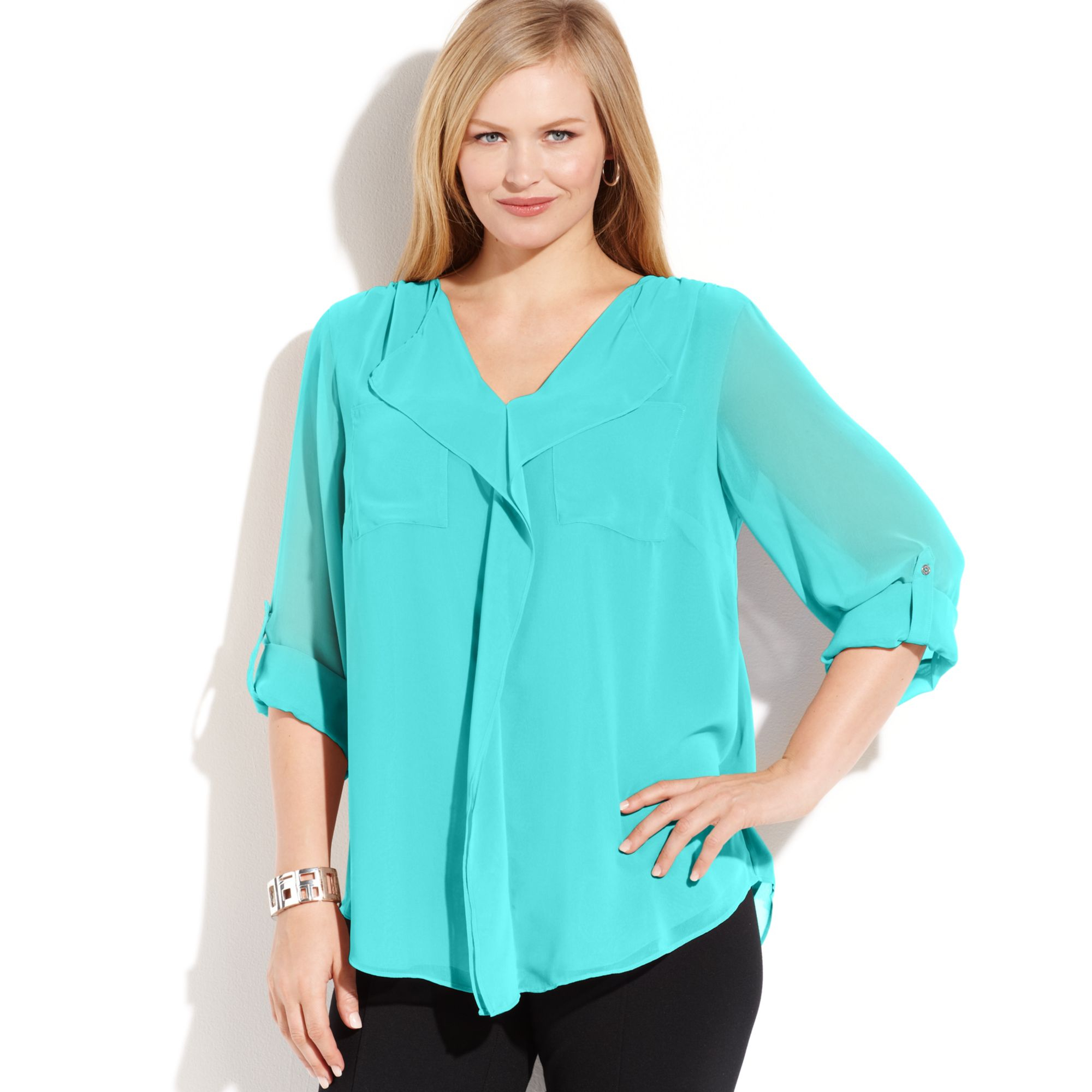 0719af47e6956 Lyst - Calvin Klein Plus Size Long Sleeve Ruffled Blouse in Blue