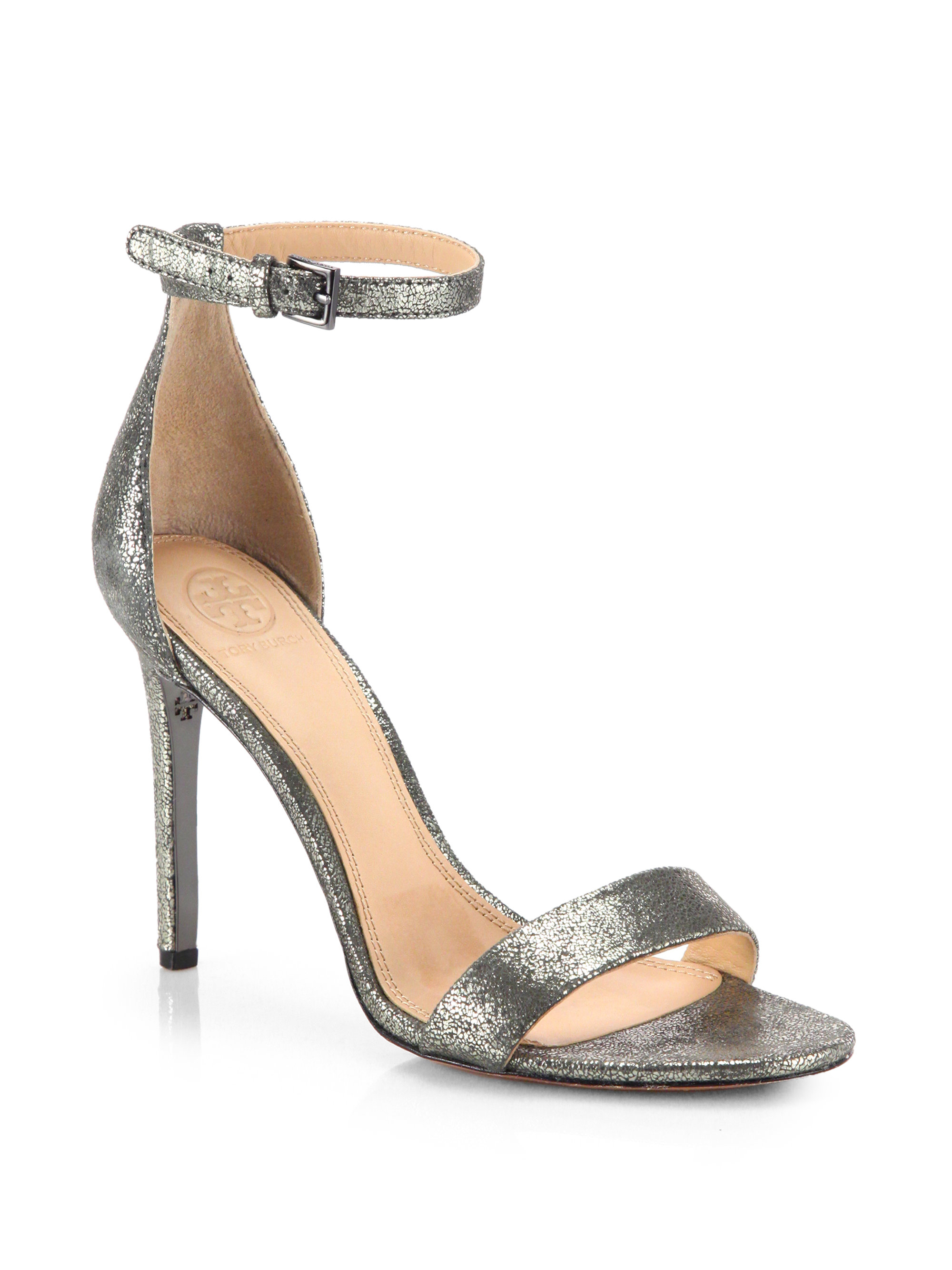 6738ab9015ac0 Lyst - Tory Burch Keri Crackled Metallic Leather Sandals in Metallic