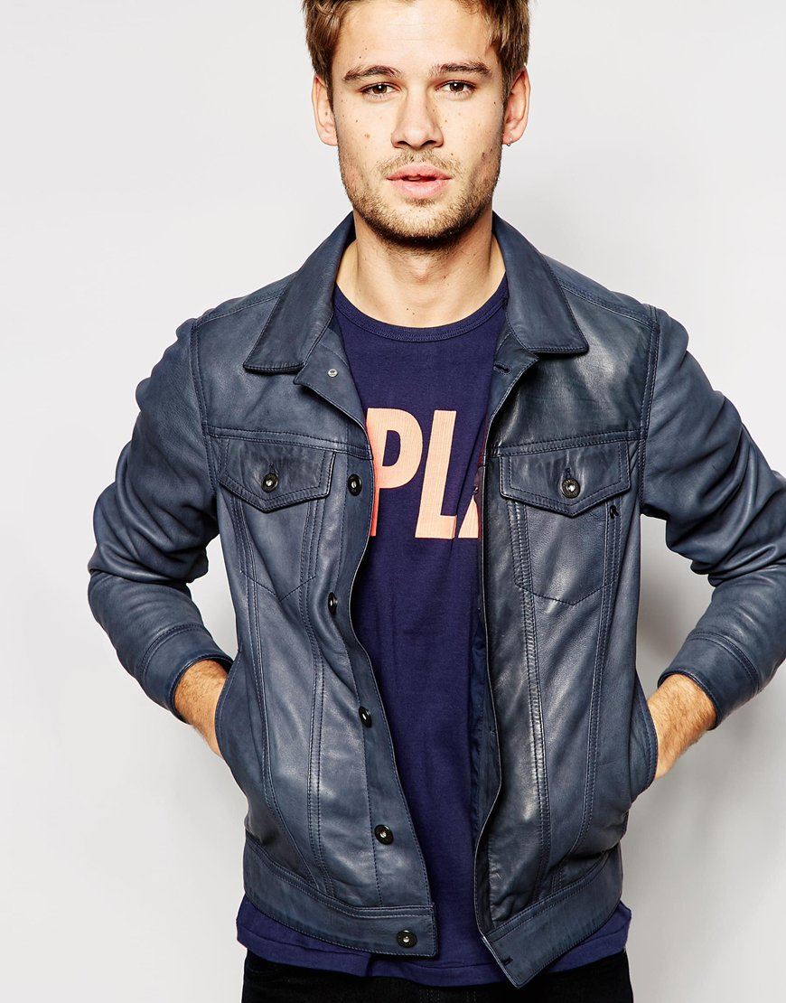 Replay Leather Trucker Jacket Button Front In Blue For Men