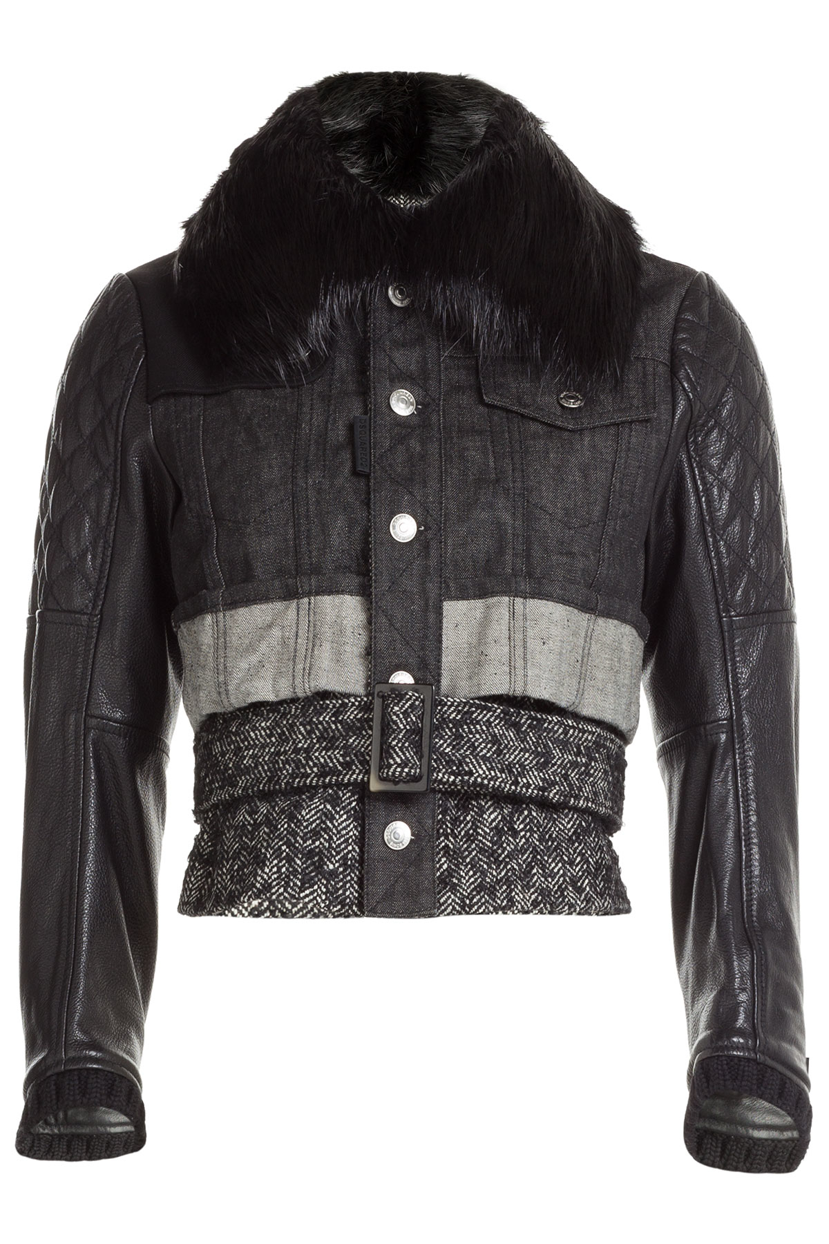 Dsquared 178 Denim Jacket With Leather Wool And A Fur Collar